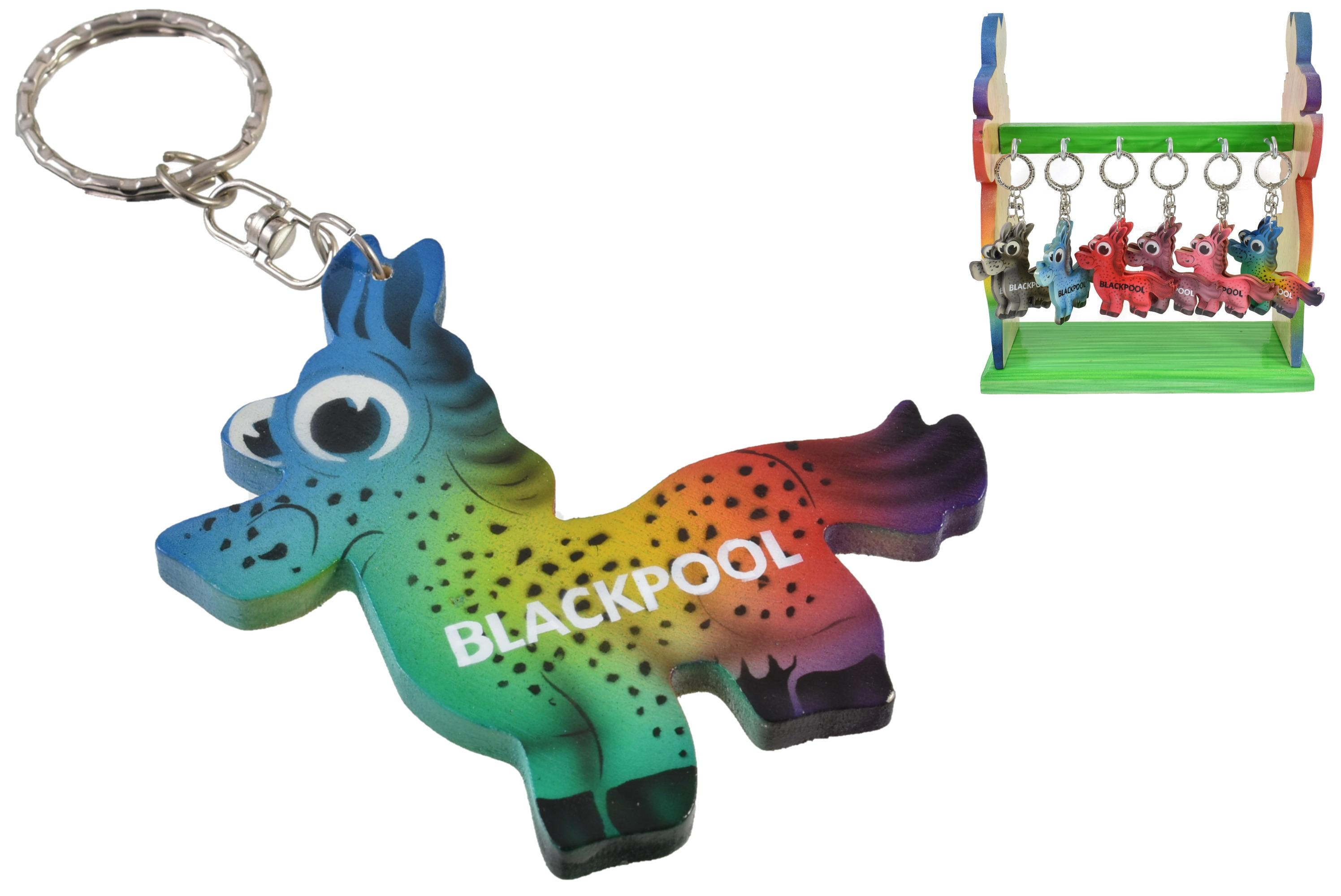 Blackpool Donkey Keyring On Display Stand