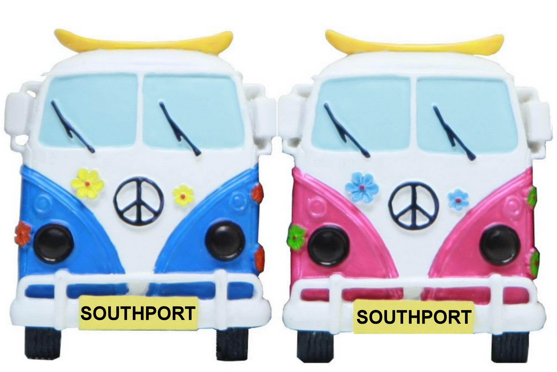 Southport Face On Campervan Resin Magnet 3 Asst