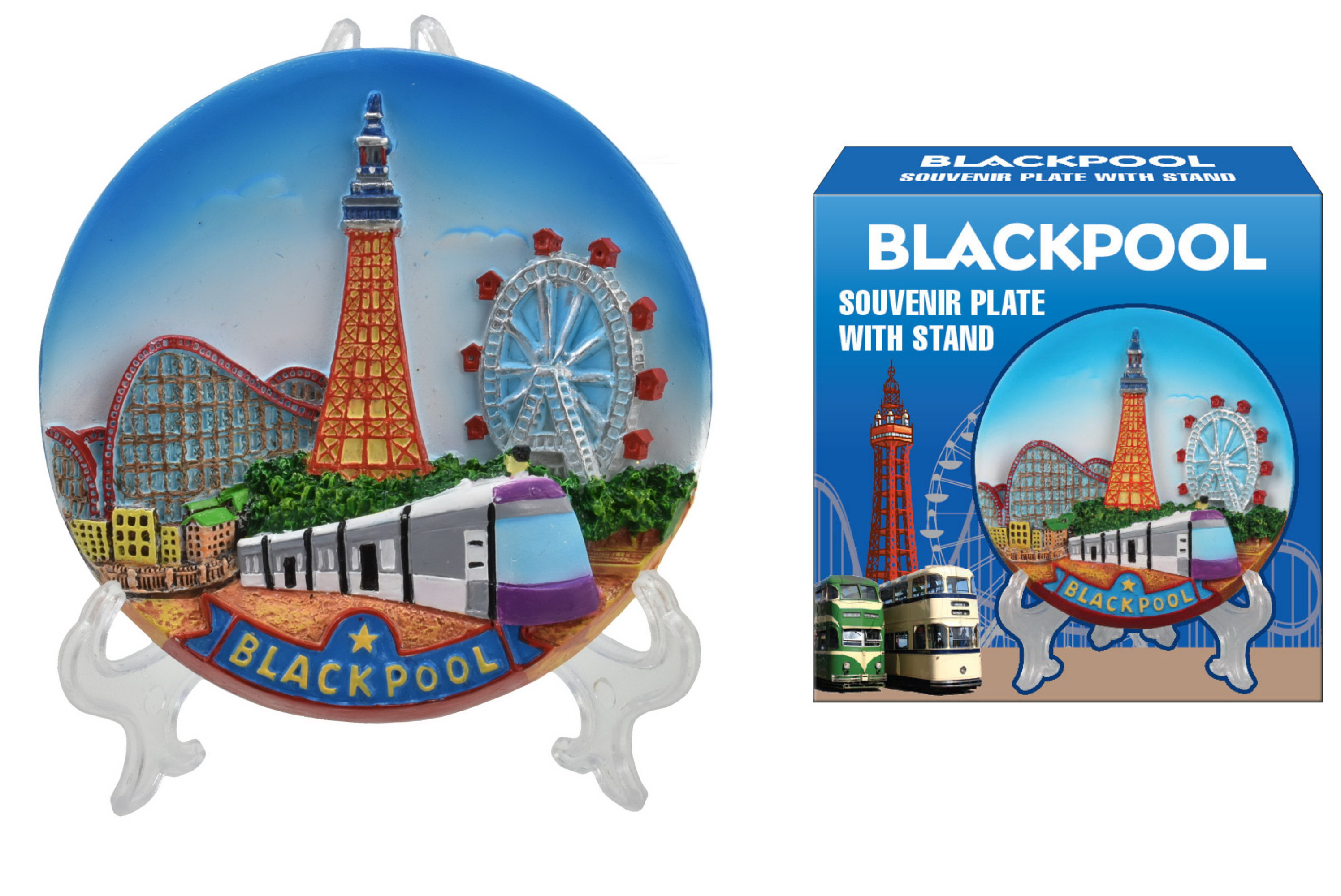 10cm Blackpool Souvenir Plate In Colour Box With Stand