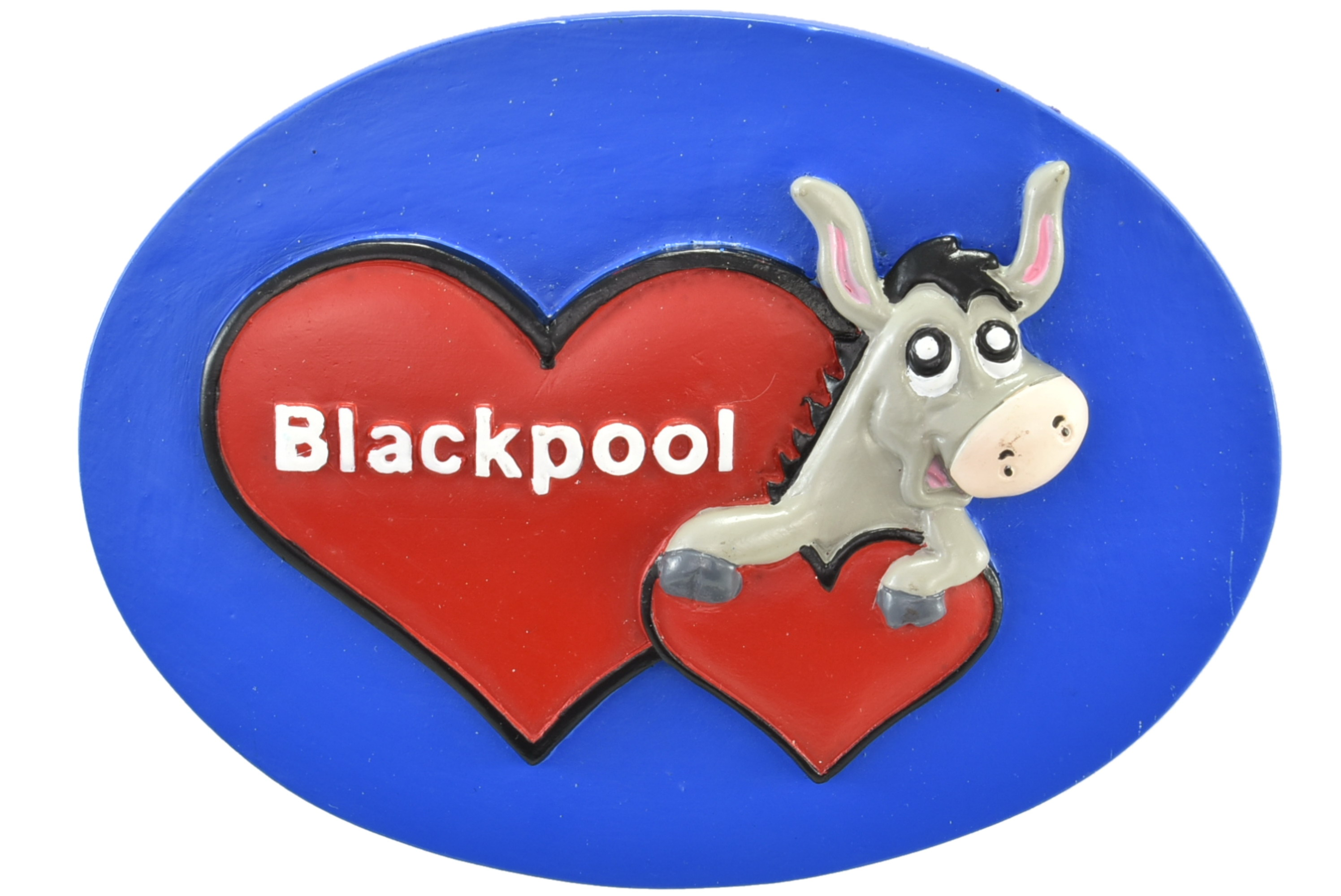 Blackpool Donkey Double Heart Resin Magnet