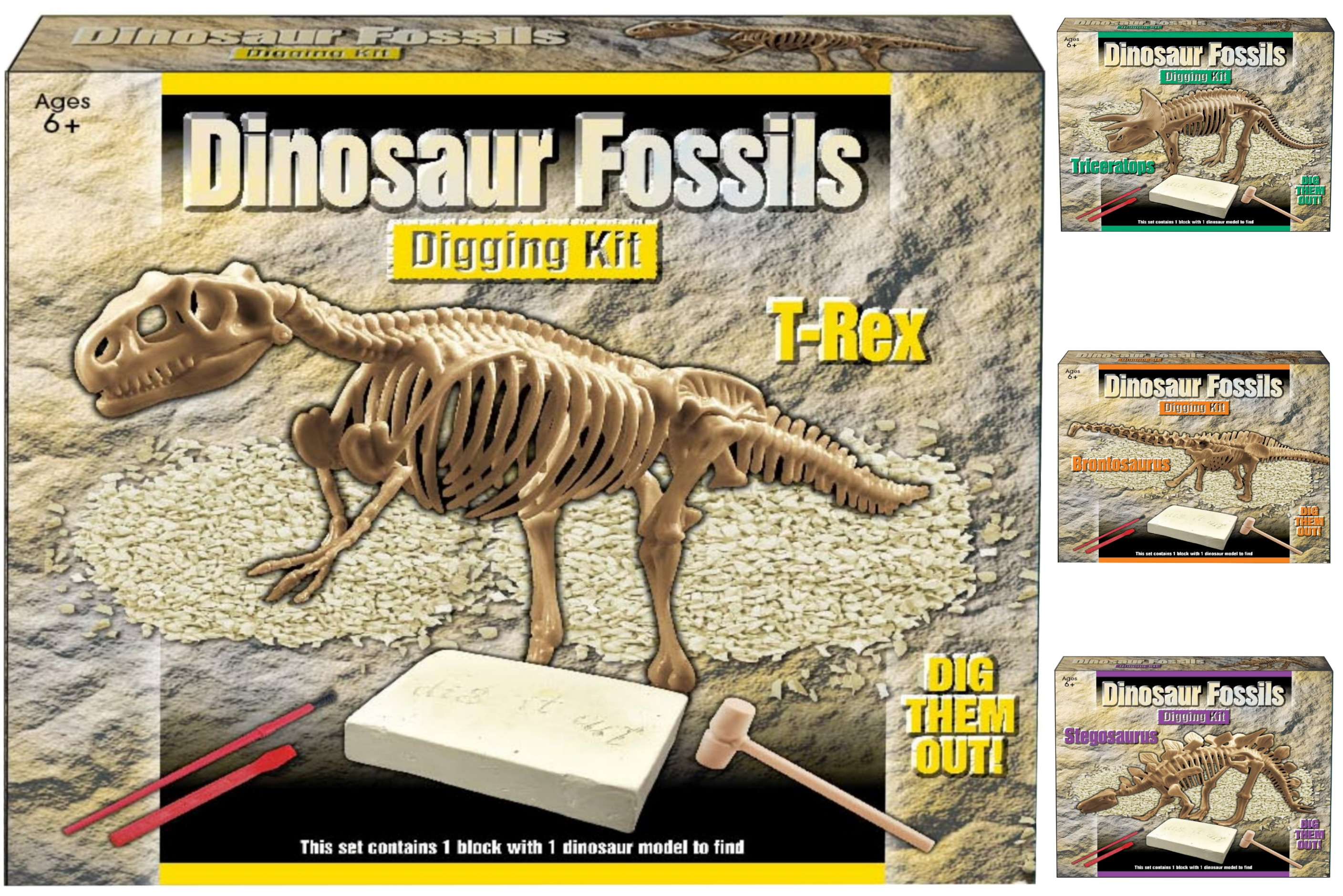 Dig Out Dinosaur Skeleton (4 Assorted) In Colour Box