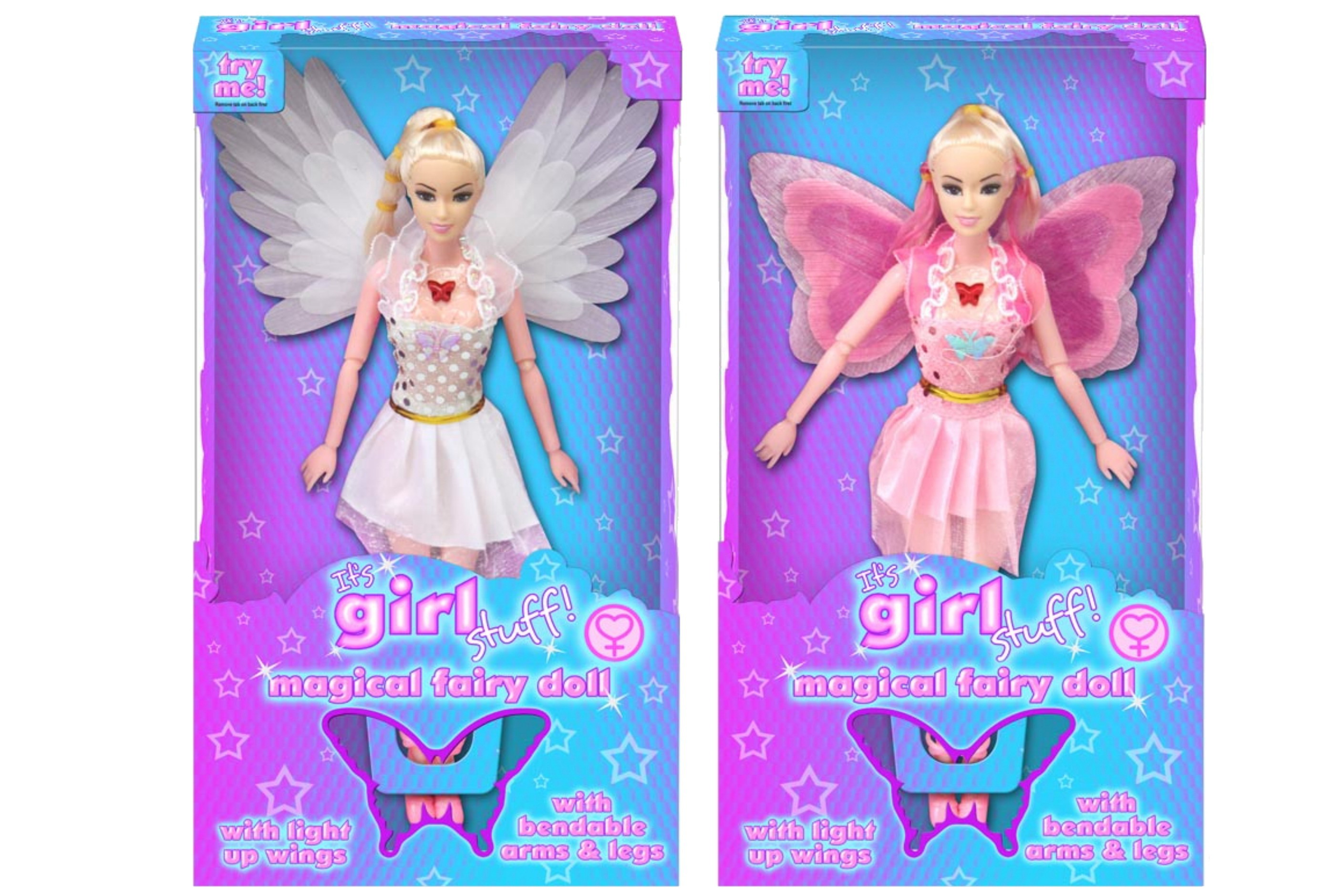 "Magical Fairy Doll With Light Up Wings (2 Asst) ""Igs"""