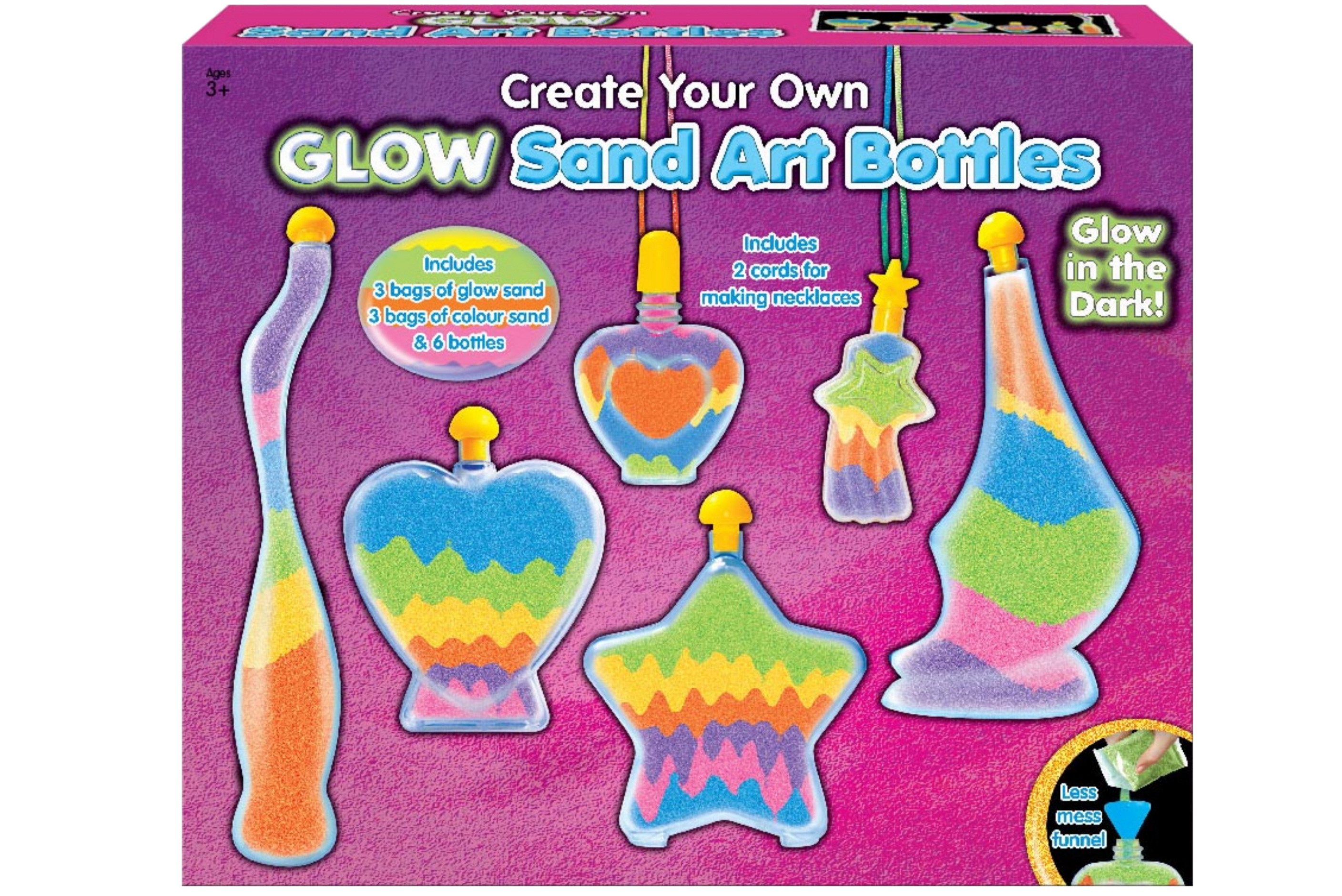Sand & Bottle Art Set - Glow In The Dark In Colour Box