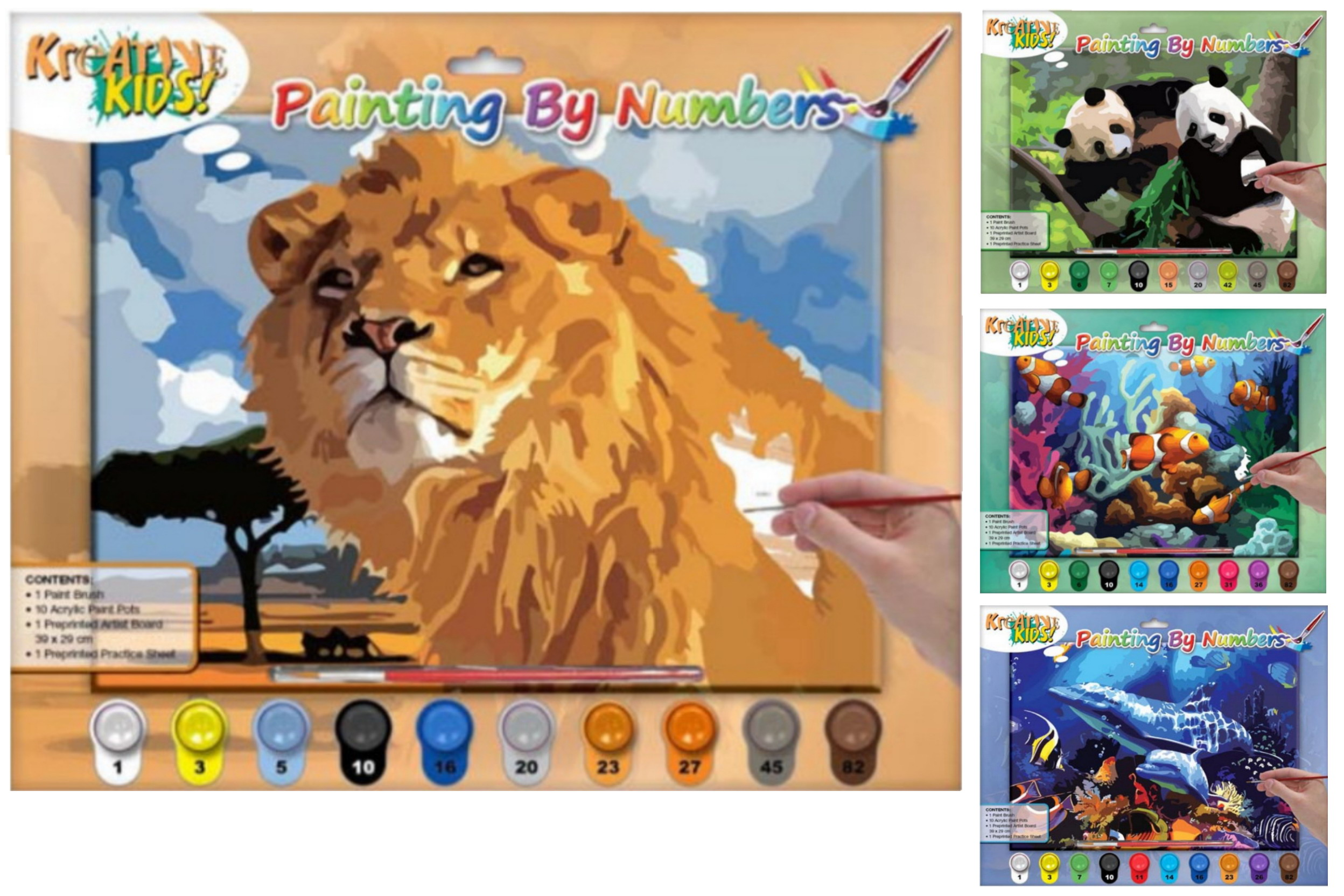 Painting By Numbers With 10 Paints - 6 Assorted