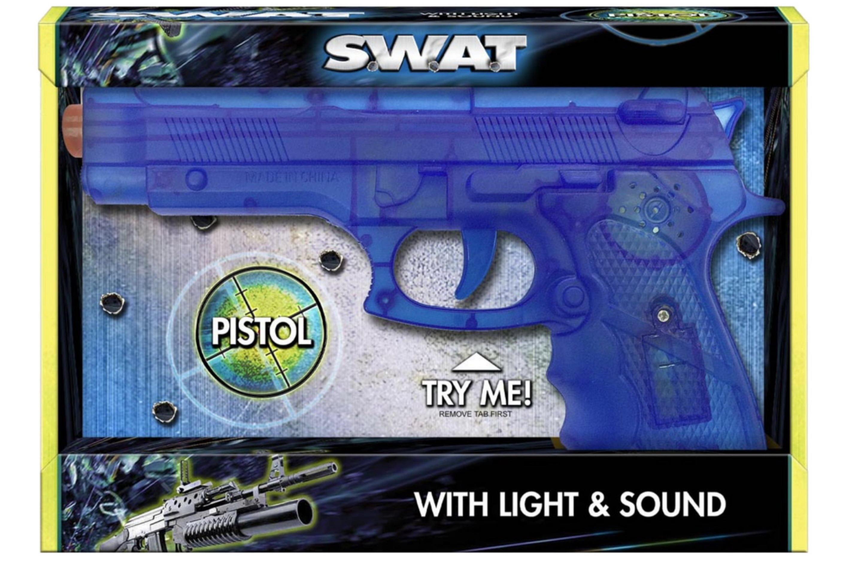 "Pistol With Light & Sound ""Try Me"" Open Touch Bx ""Swat"""