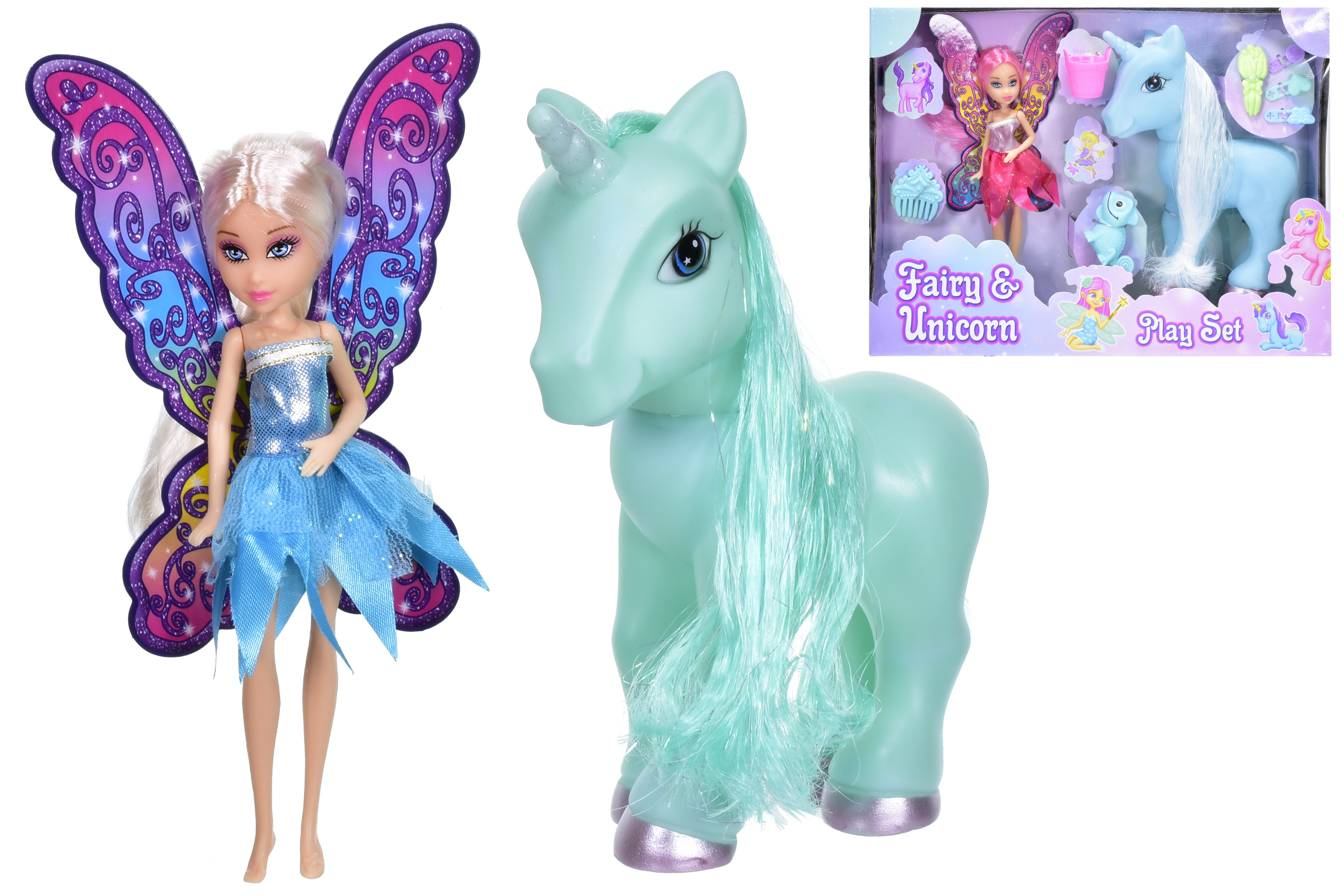 Large Unicorn & Fairy Playset (3 Asst) In Window Box