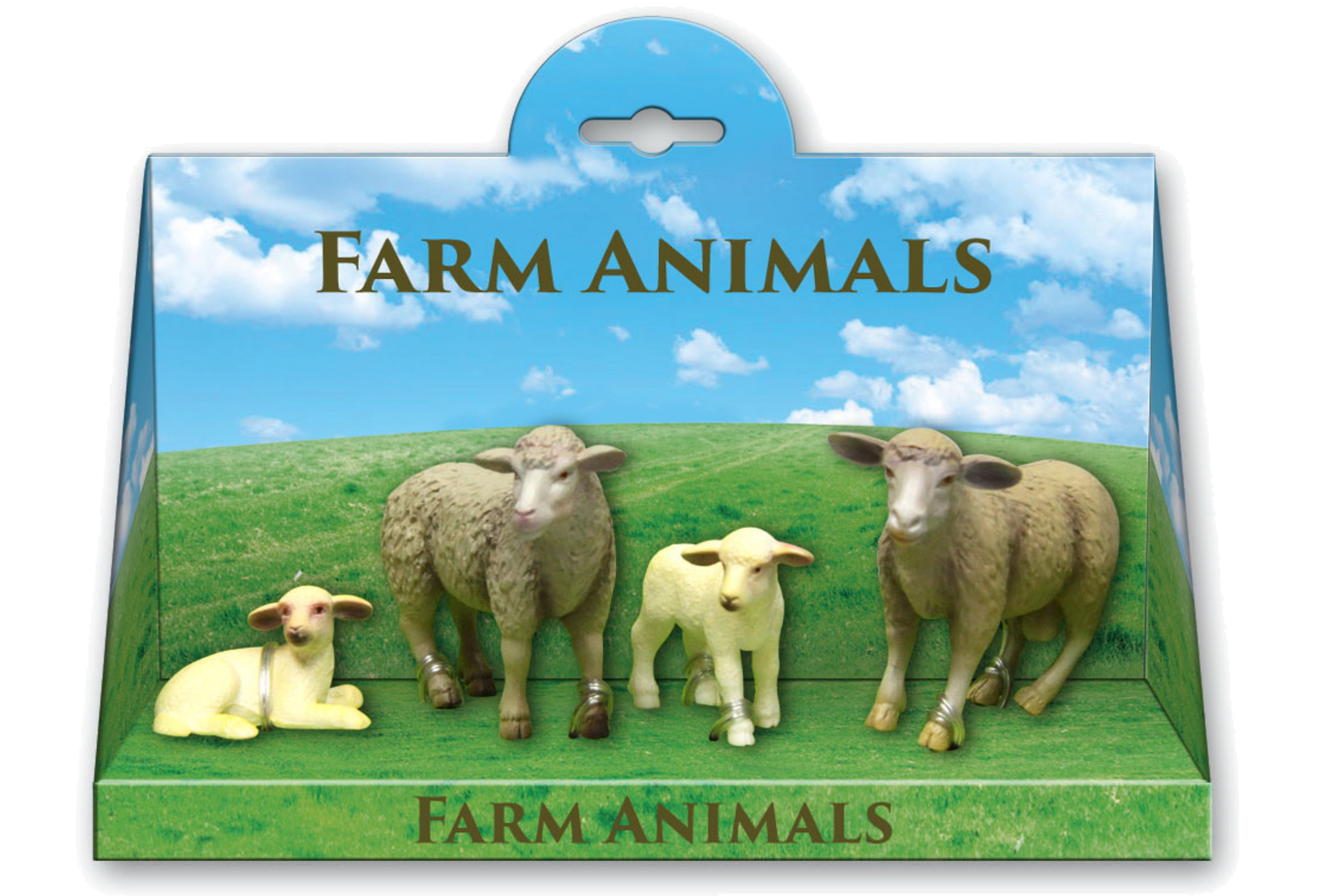 4pc Sheep & Lambs Playset In Open Touch Box