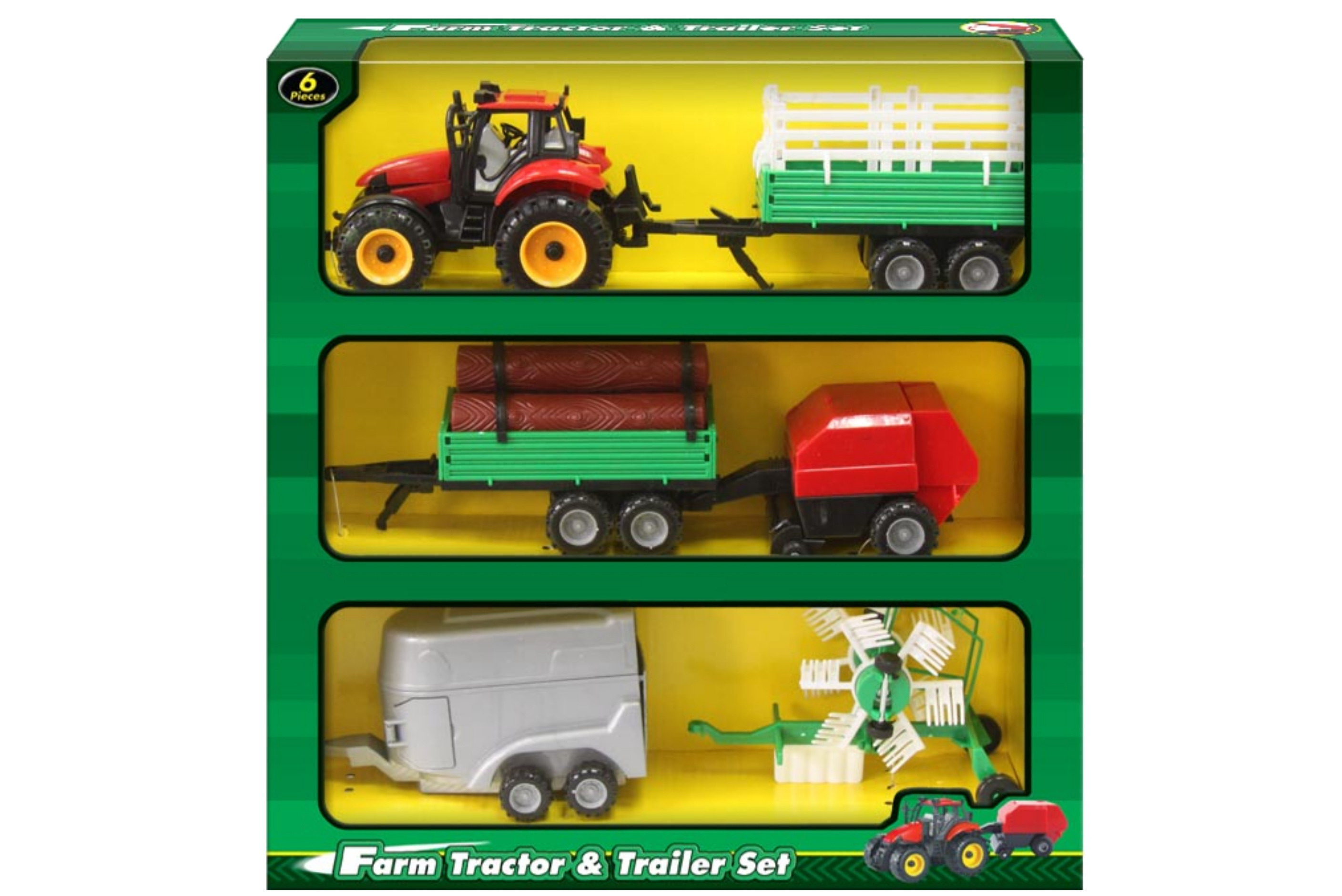 5pc Tractor & Trailer Set In Window Box
