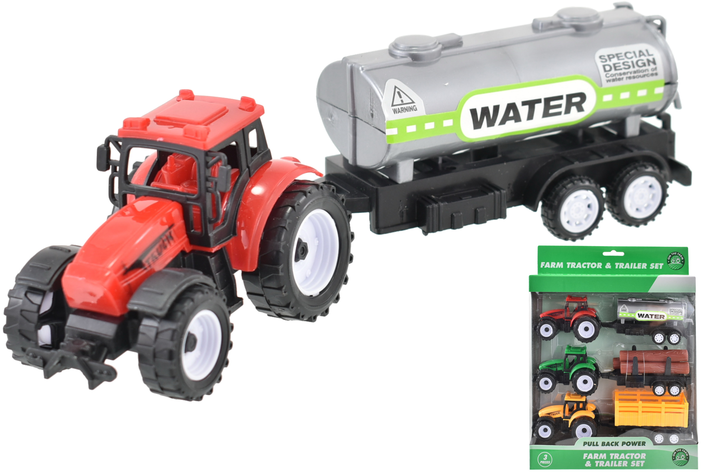 3pc Tractor & Trailer Set In Window Box