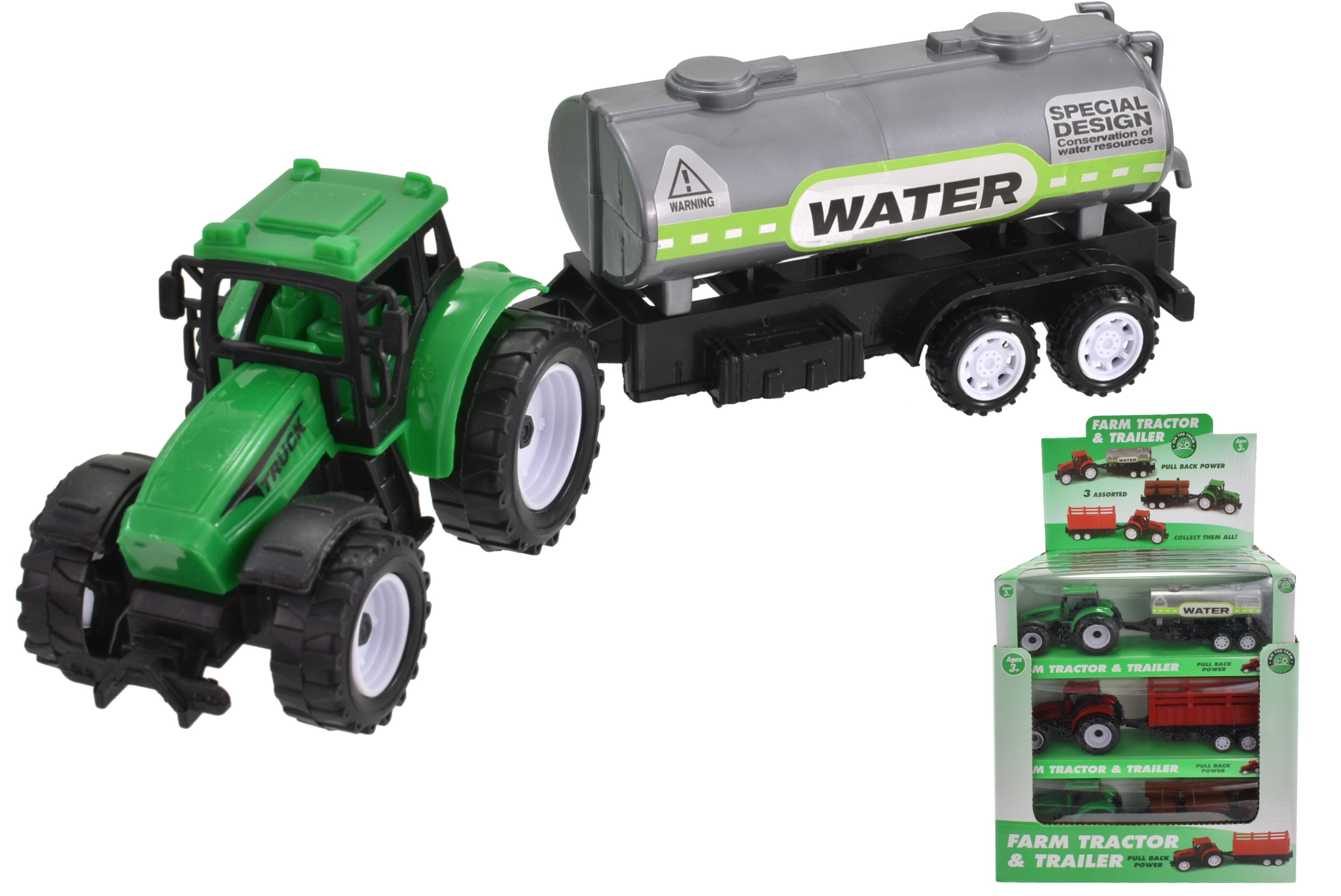 Plastic Tractor With Trailer (3 Assorted) In Window Box
