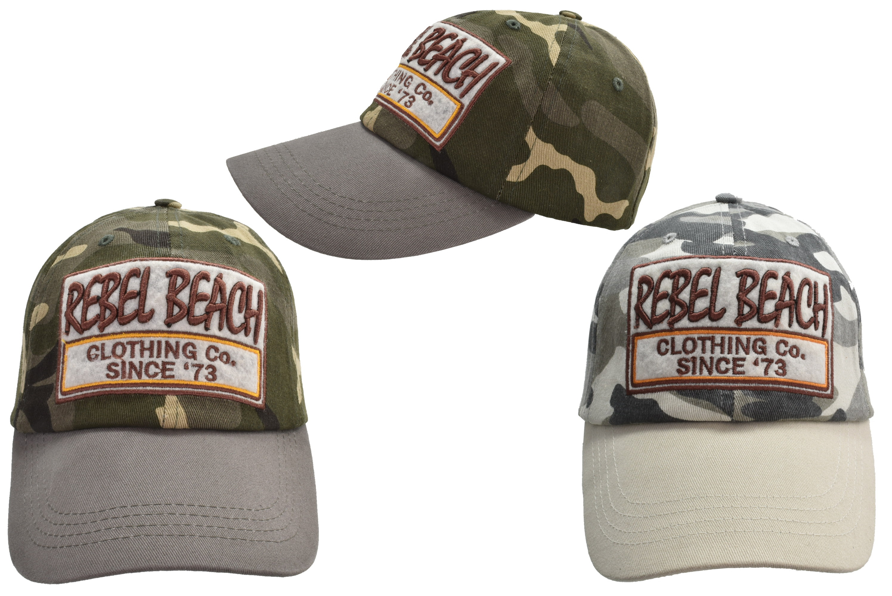 Cotton Baseball Cap Camouflage Rebel Beach 2 Assorted