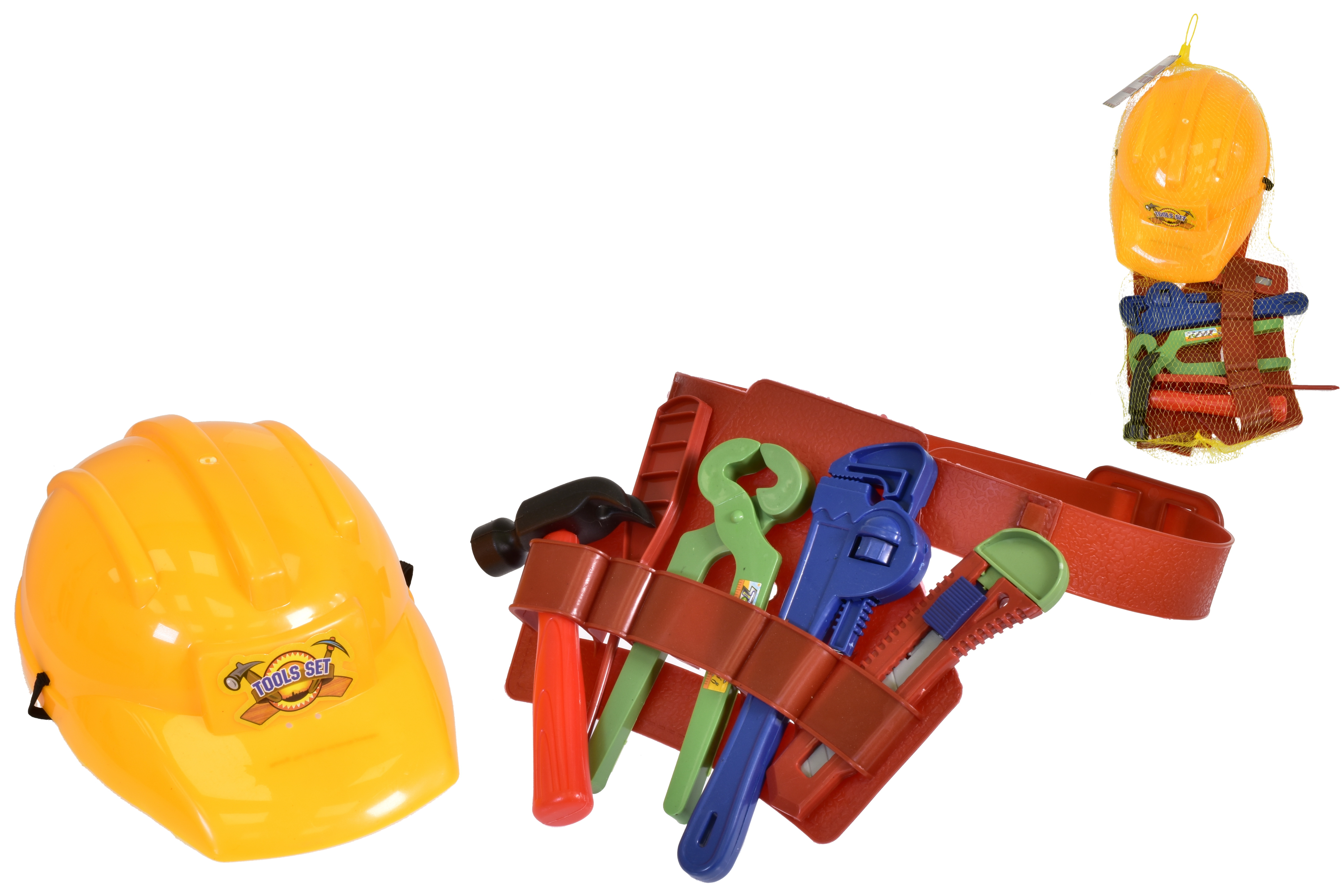 Plastic Construction Helmet With Tools In Netted Bag