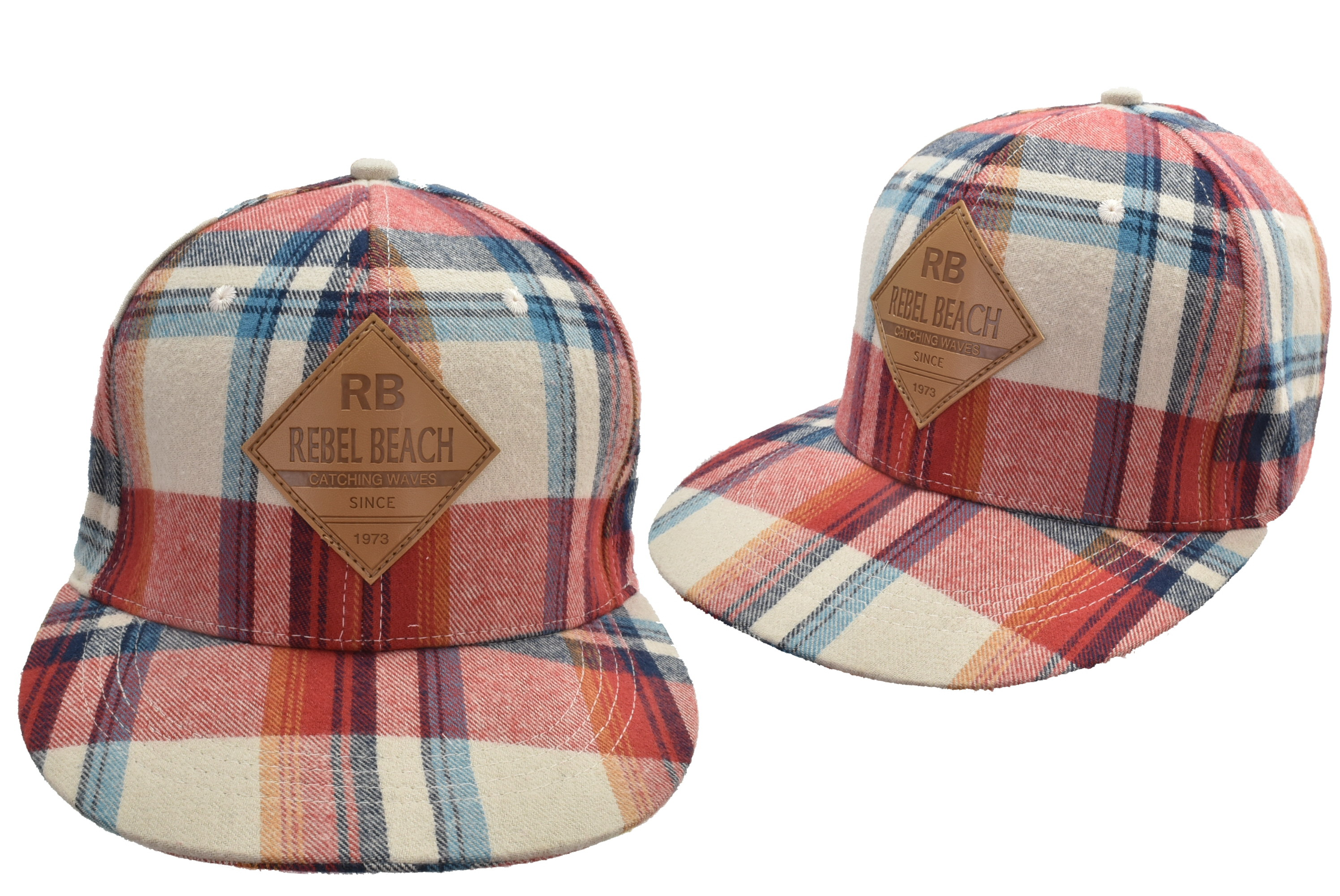 Cotton Flat Cap Check Design Rebel Beach