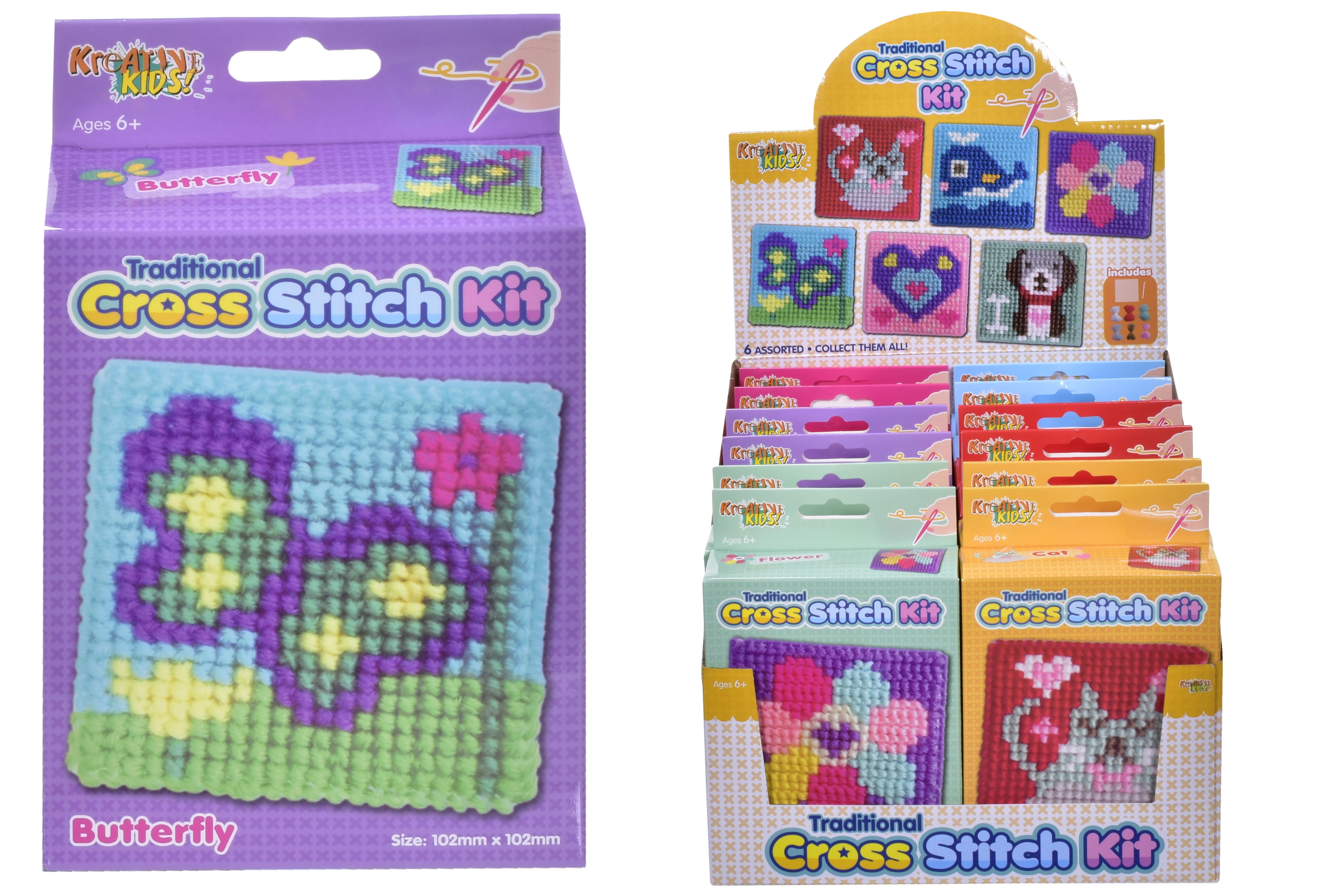 Cross Stitch Kit (6 Assorted) In Colour Box/Display Box