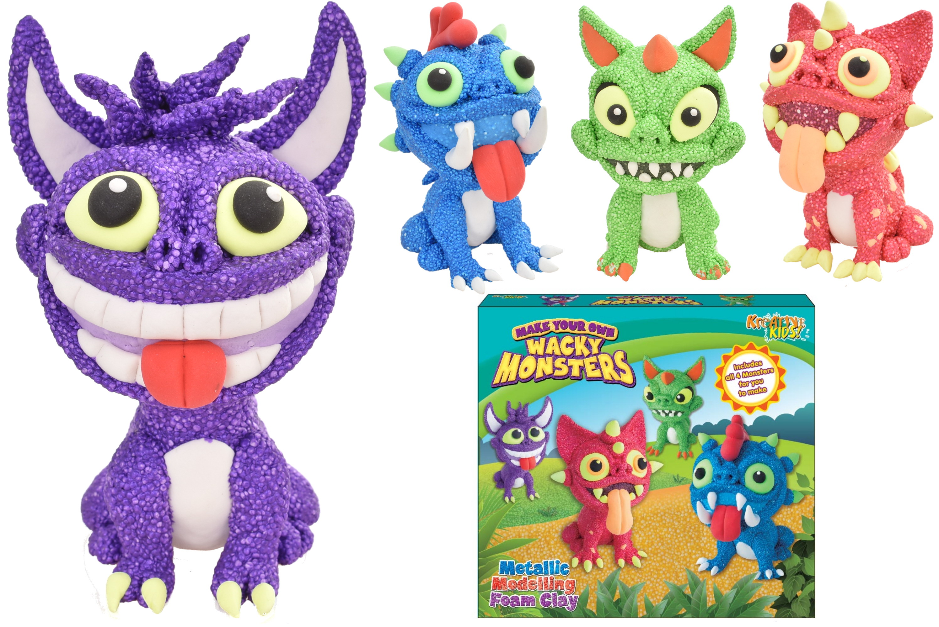 Metallic Modelling Foam Wacky Monsters 4 In 1