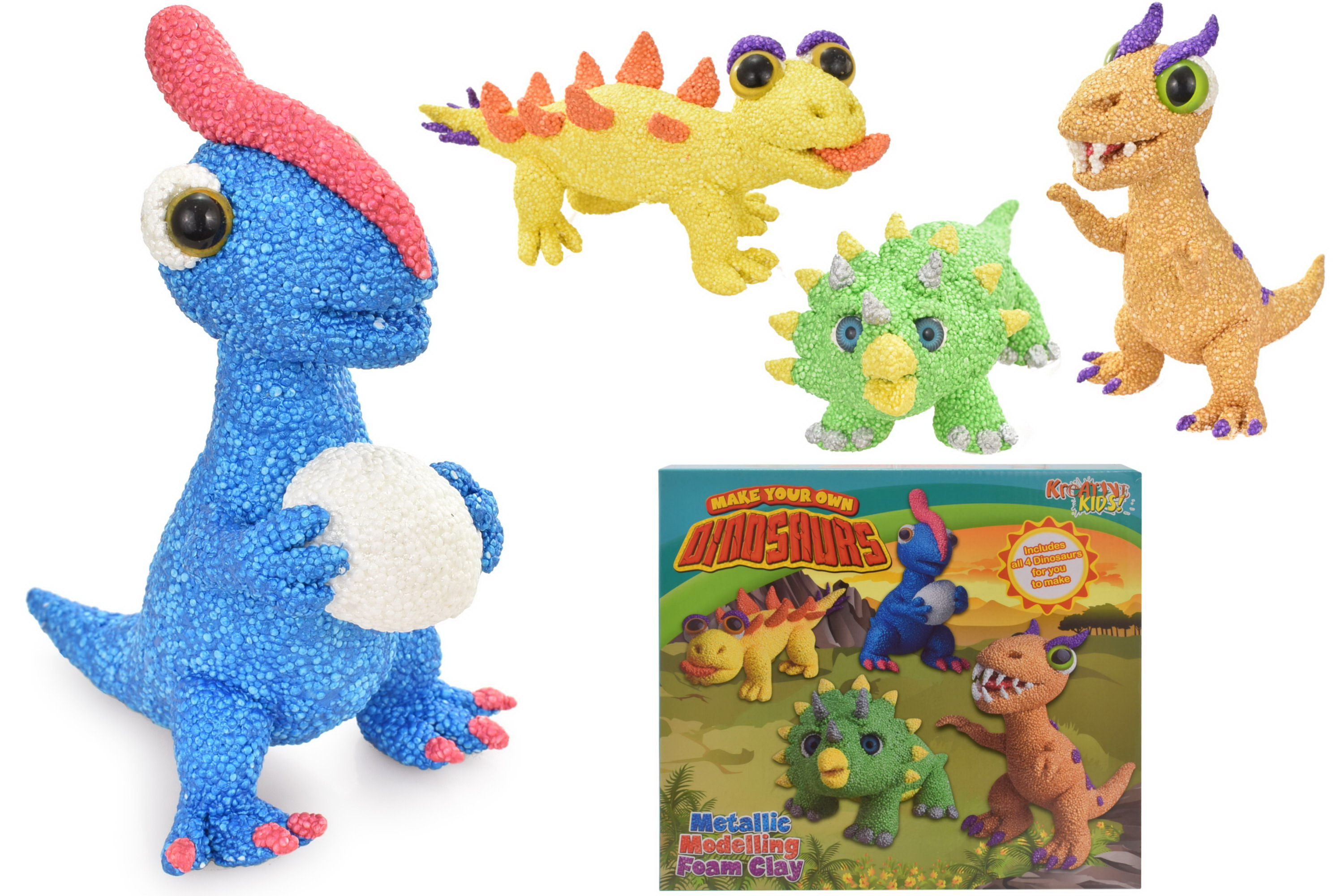 Metallic Modelling Foam Dinosaurs 4 In 1