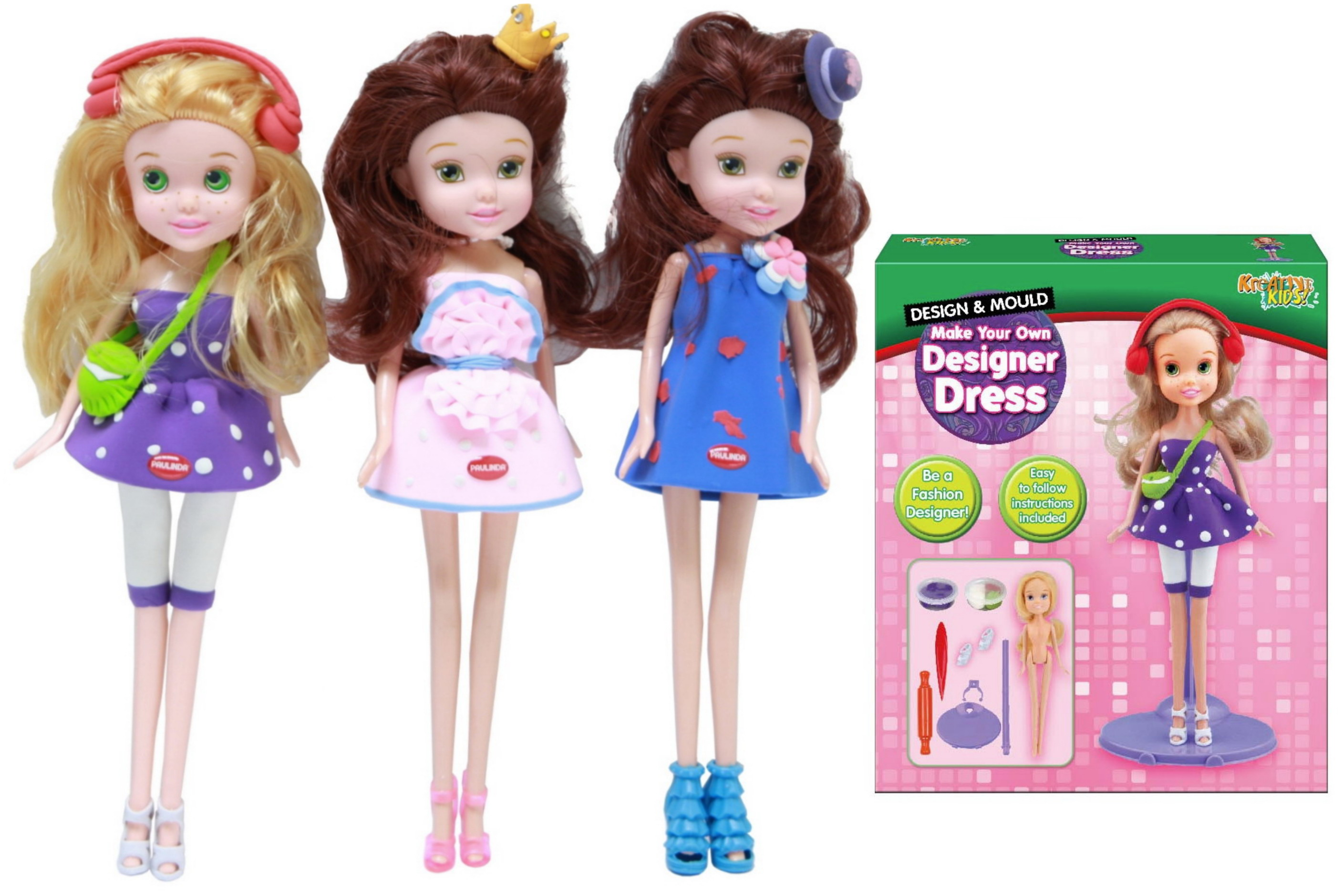 Super Dough Make Your Own Dolls 3 Assorted