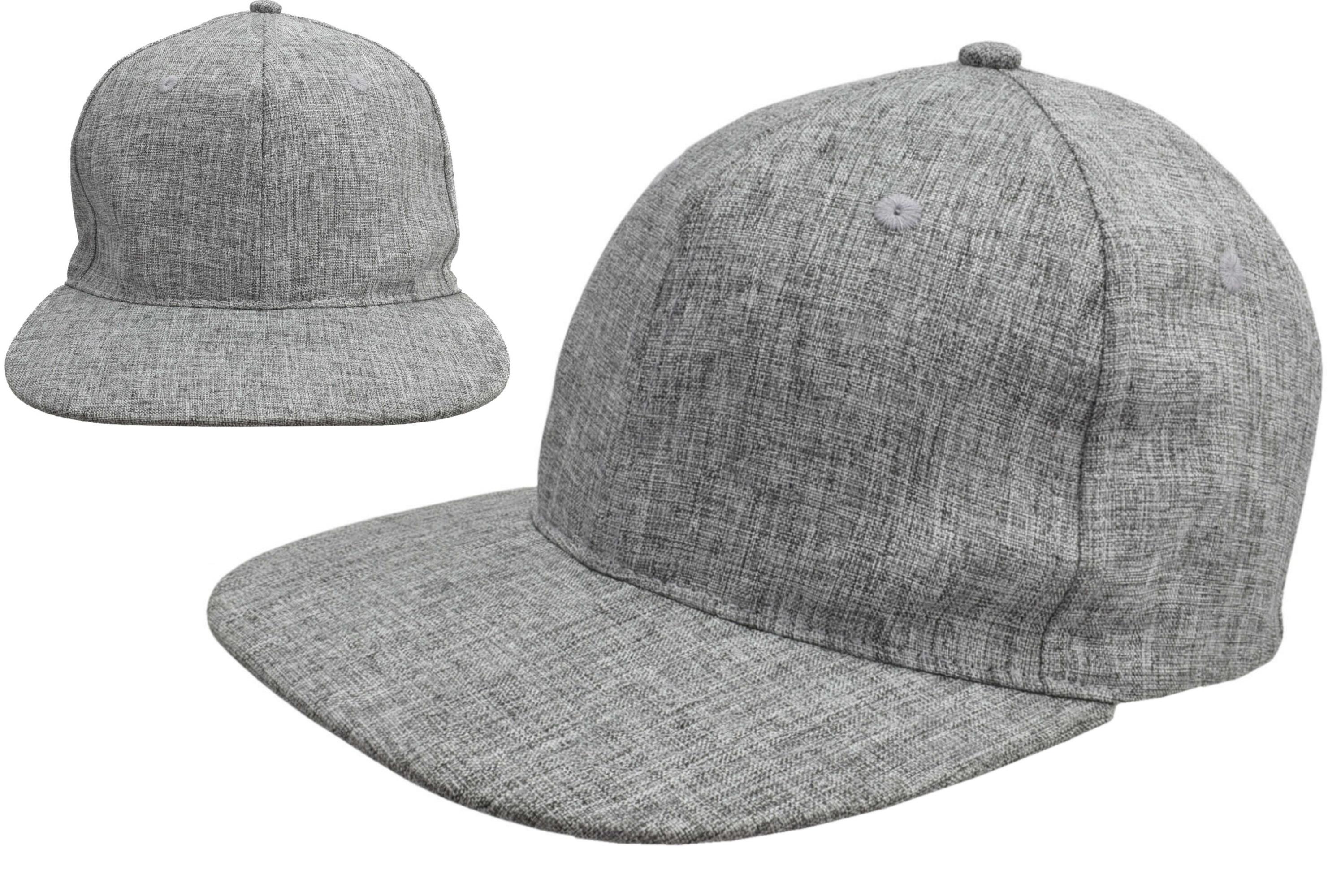 Flat Peak Baseball Cap Grey 58cm