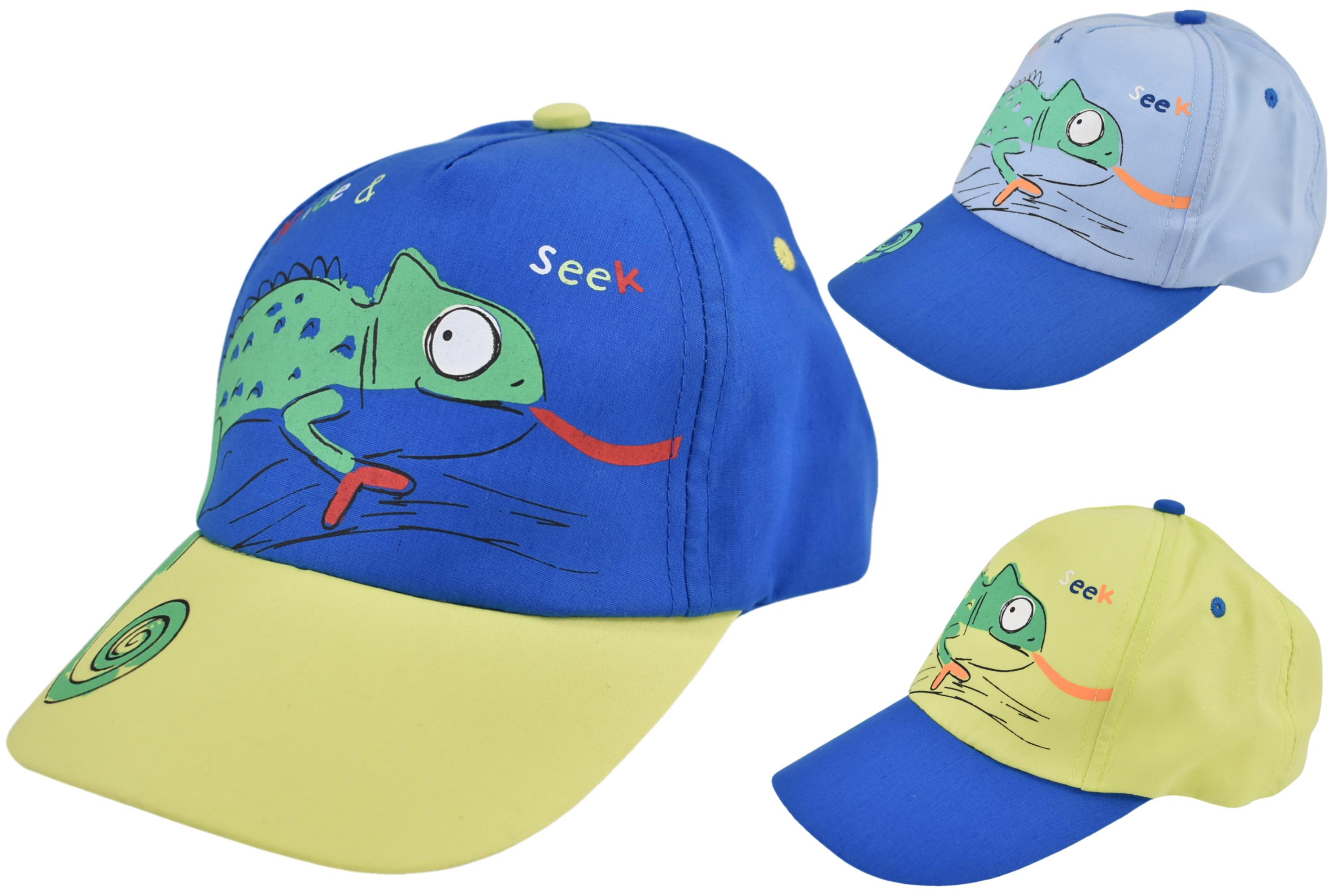 Kids Baseball Cap With Lizard Design 52cm 3 Asst Colour