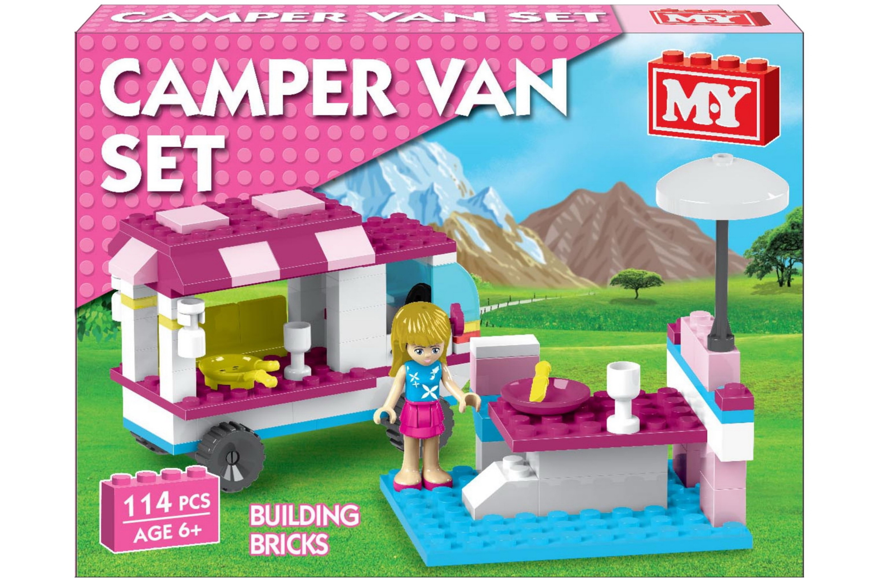 "Girls Camper Van Brick Set In Colour Box ""M.Y"""