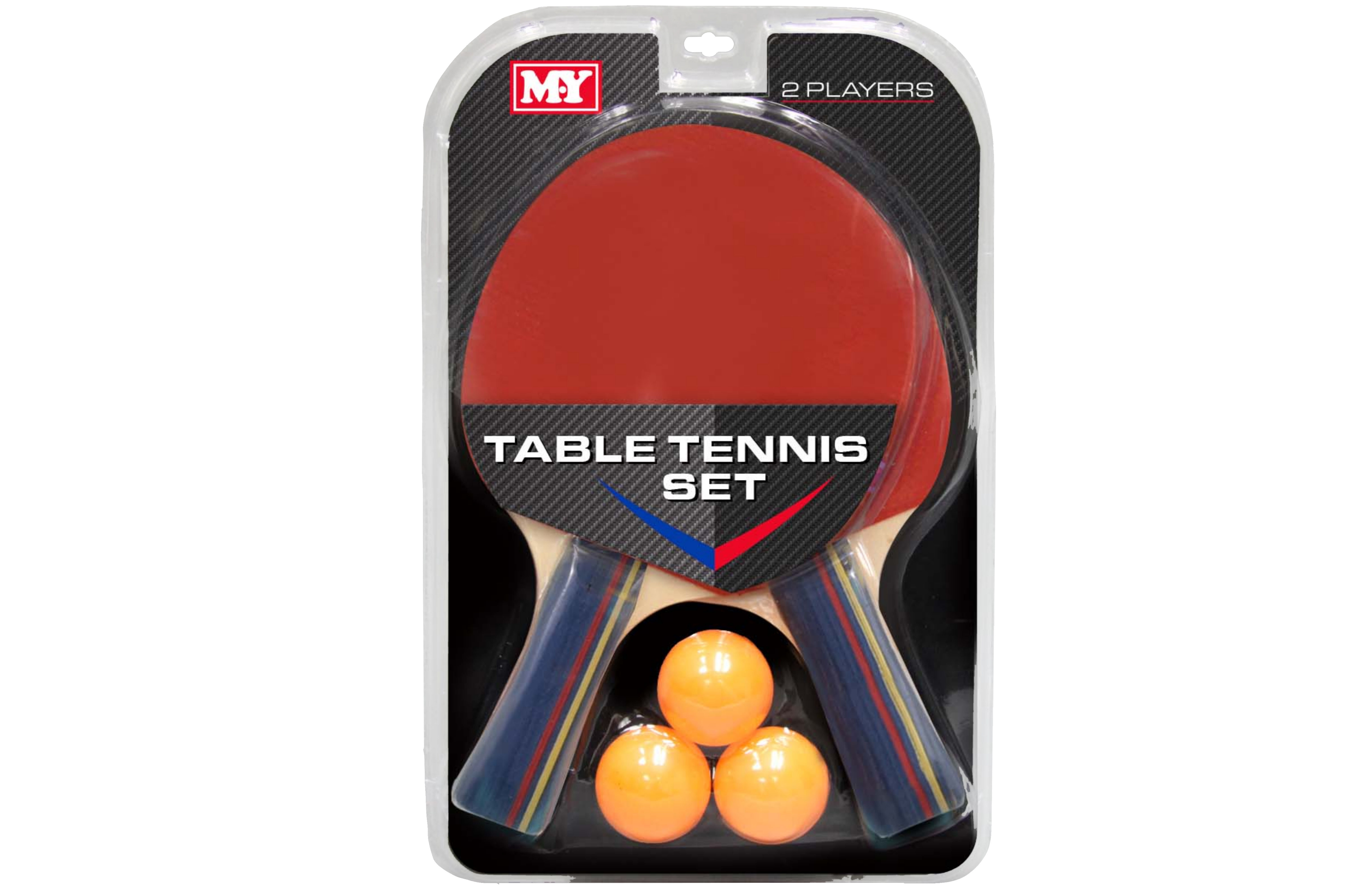 "2 Player Table Tennis Set In Hanging Clam Pack ""M.Y"""