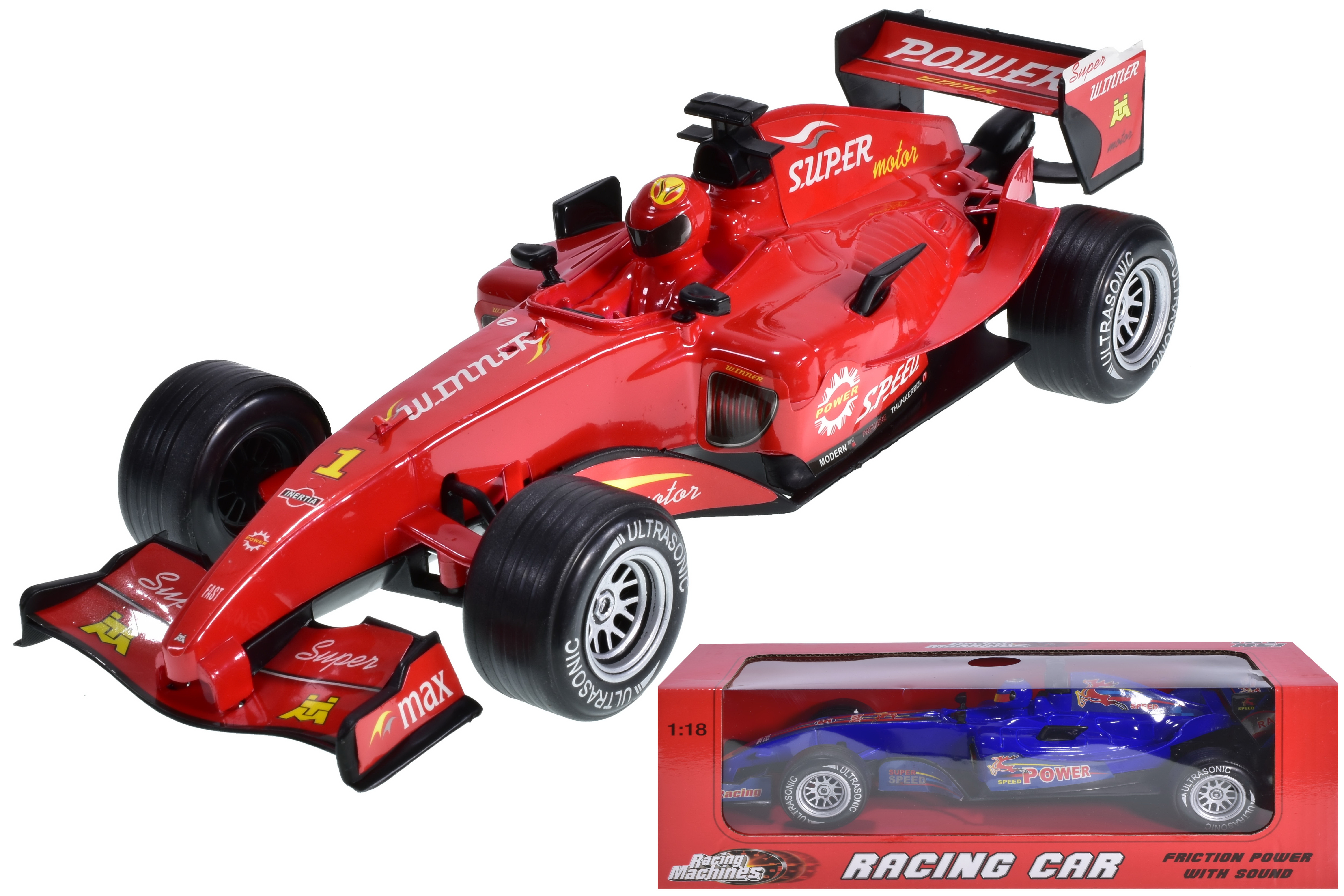 1:18sc Plastic Racing Car With Sound 2 Assorted In Wbx