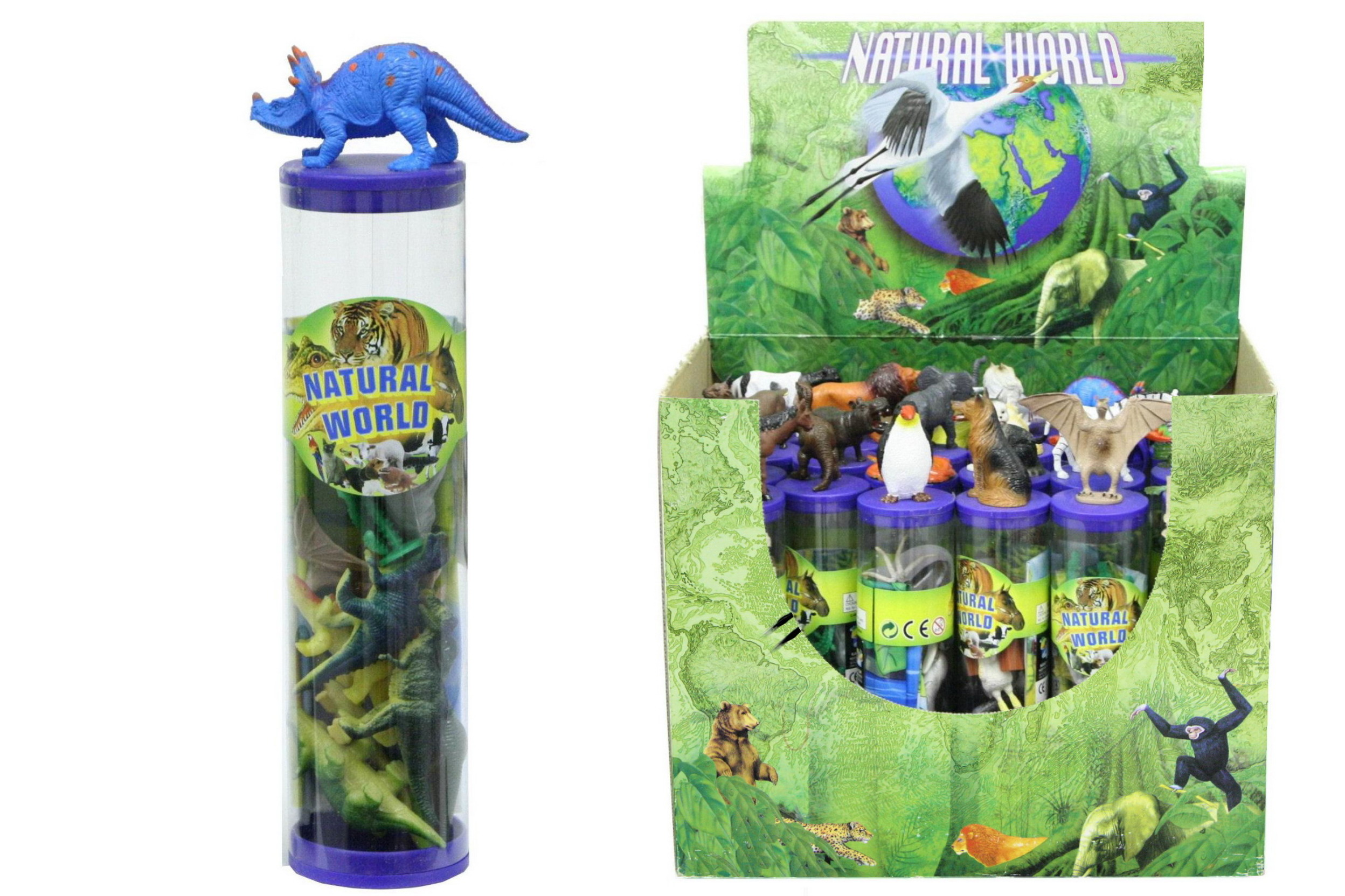 24 Assorted Animal Tubes In Display Box