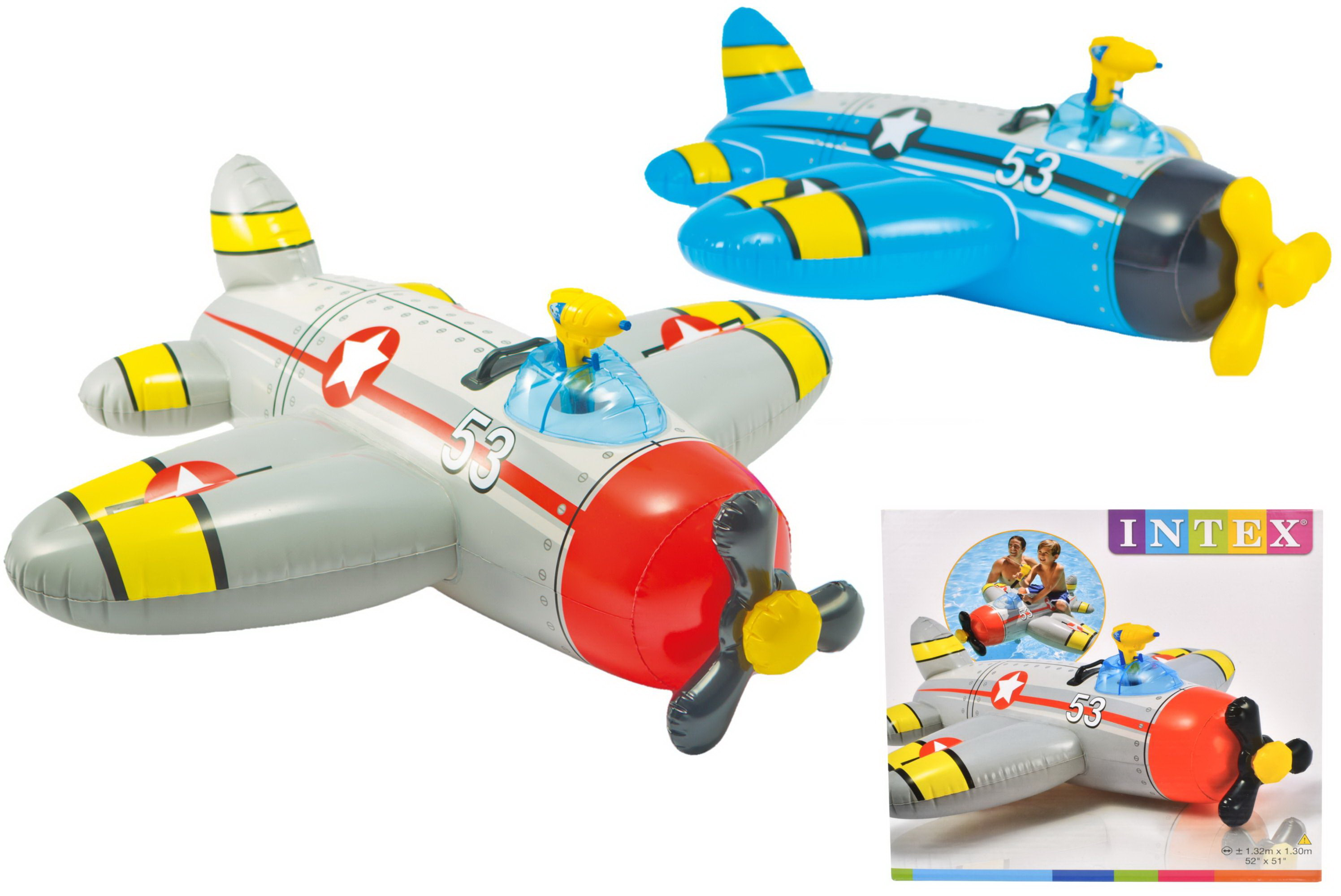 "Water Gun Plane Ride On 52"" x 51"" (2 Asst) In Shelf Box"