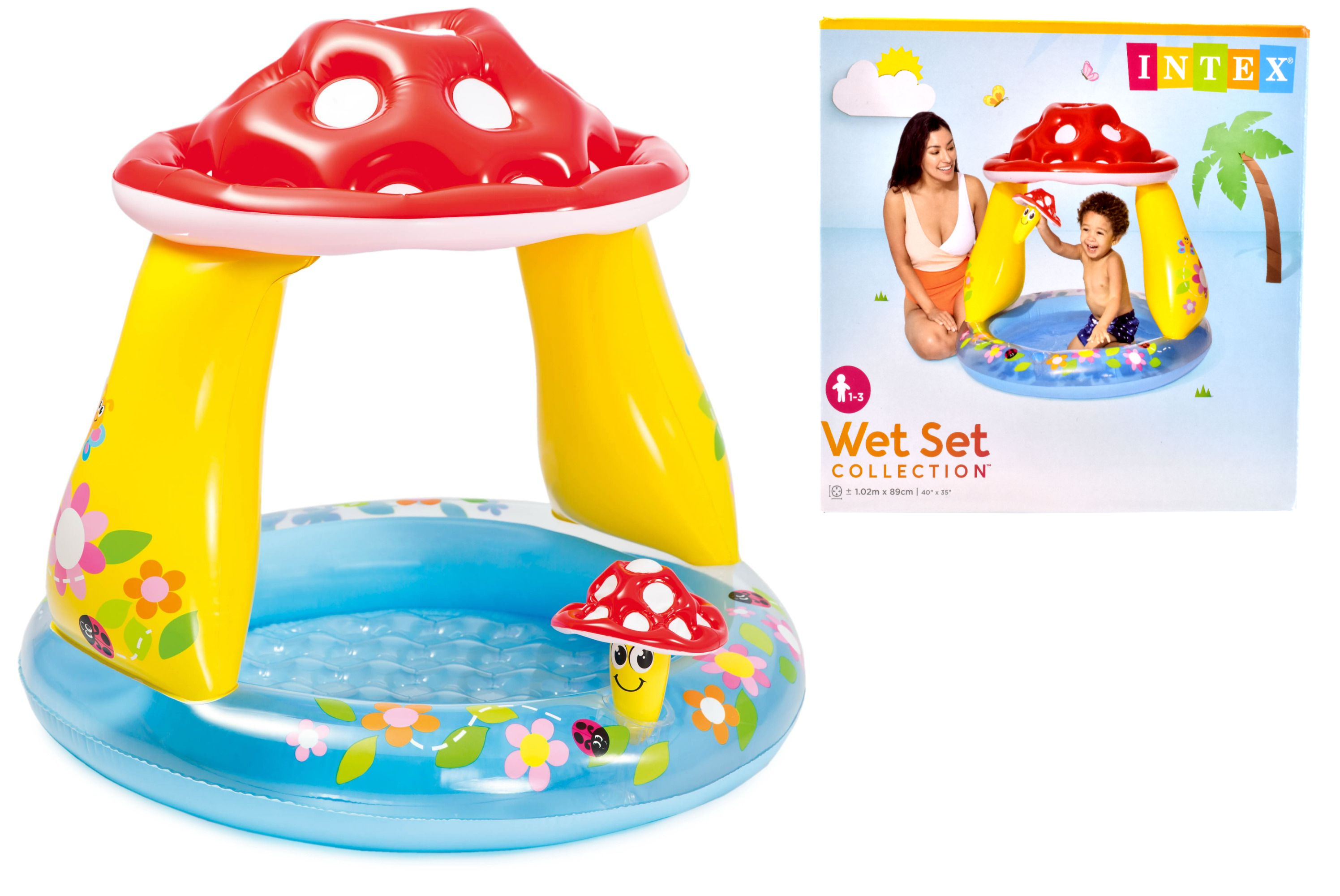 "Mushroom Baby Pool 40"" x 35"" (Ages 1-3 Yrs) In Shelf Bx"