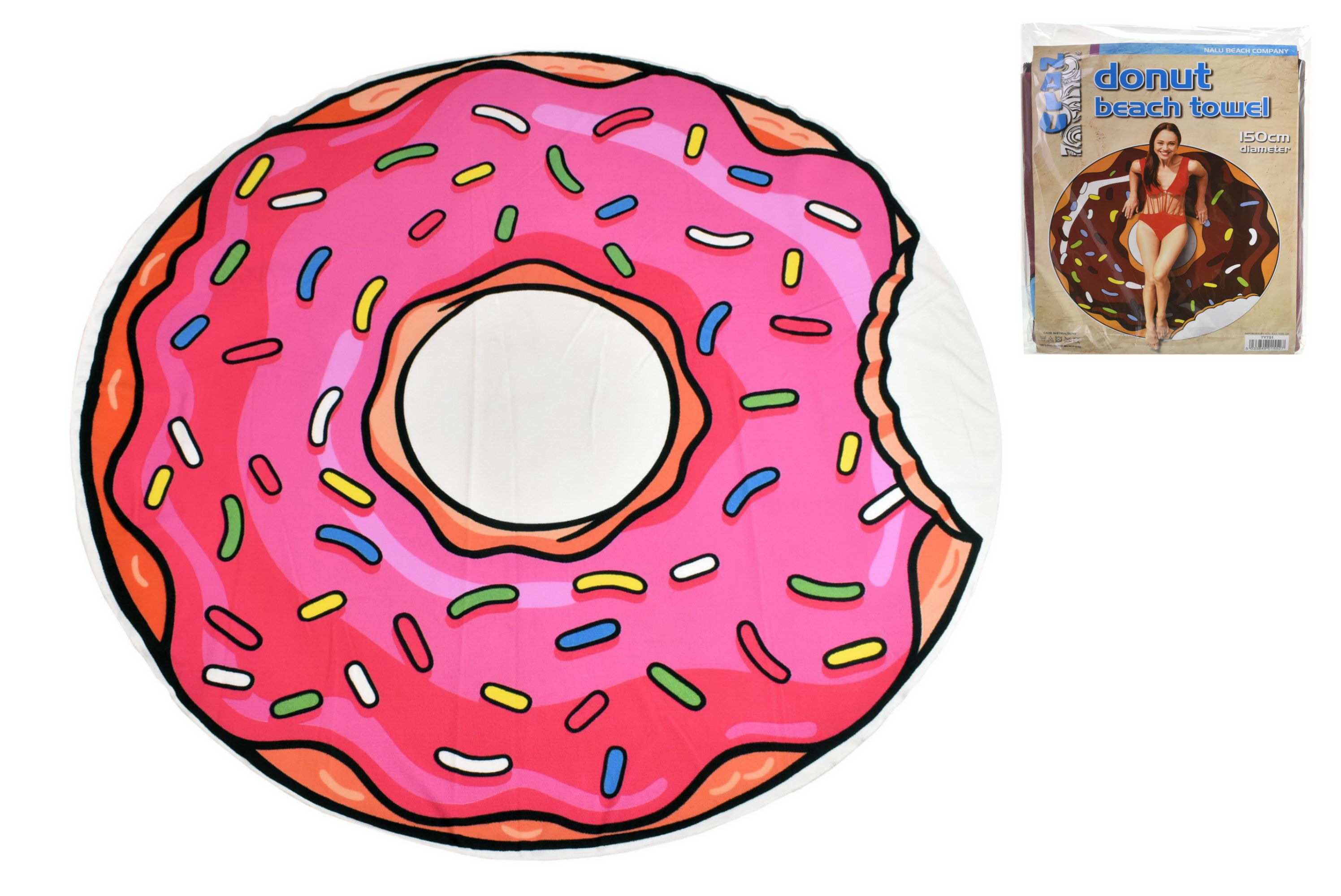 150cm Round Microfibre Towel 180gsm 2 Asst Donuts