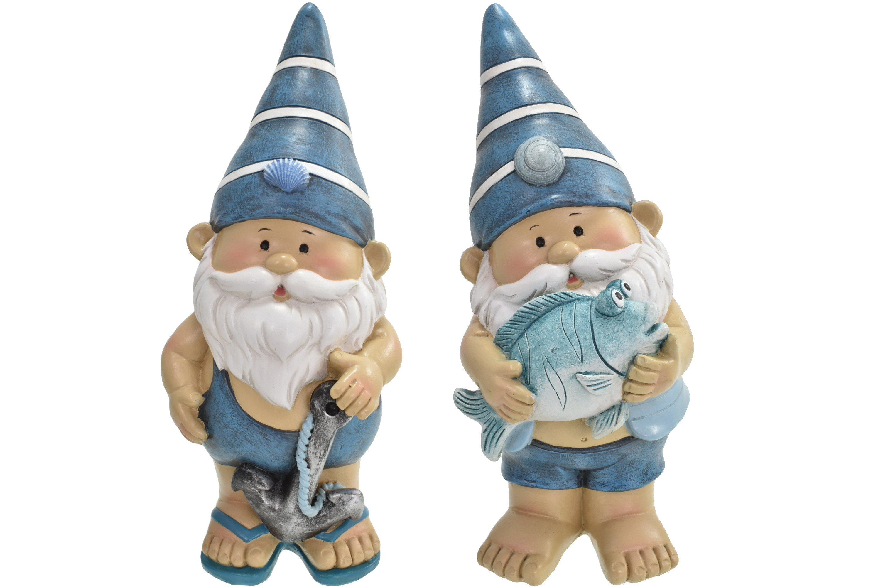 21cm Gnautical Beach Gnome Stripy Hat 2 Asst Designs