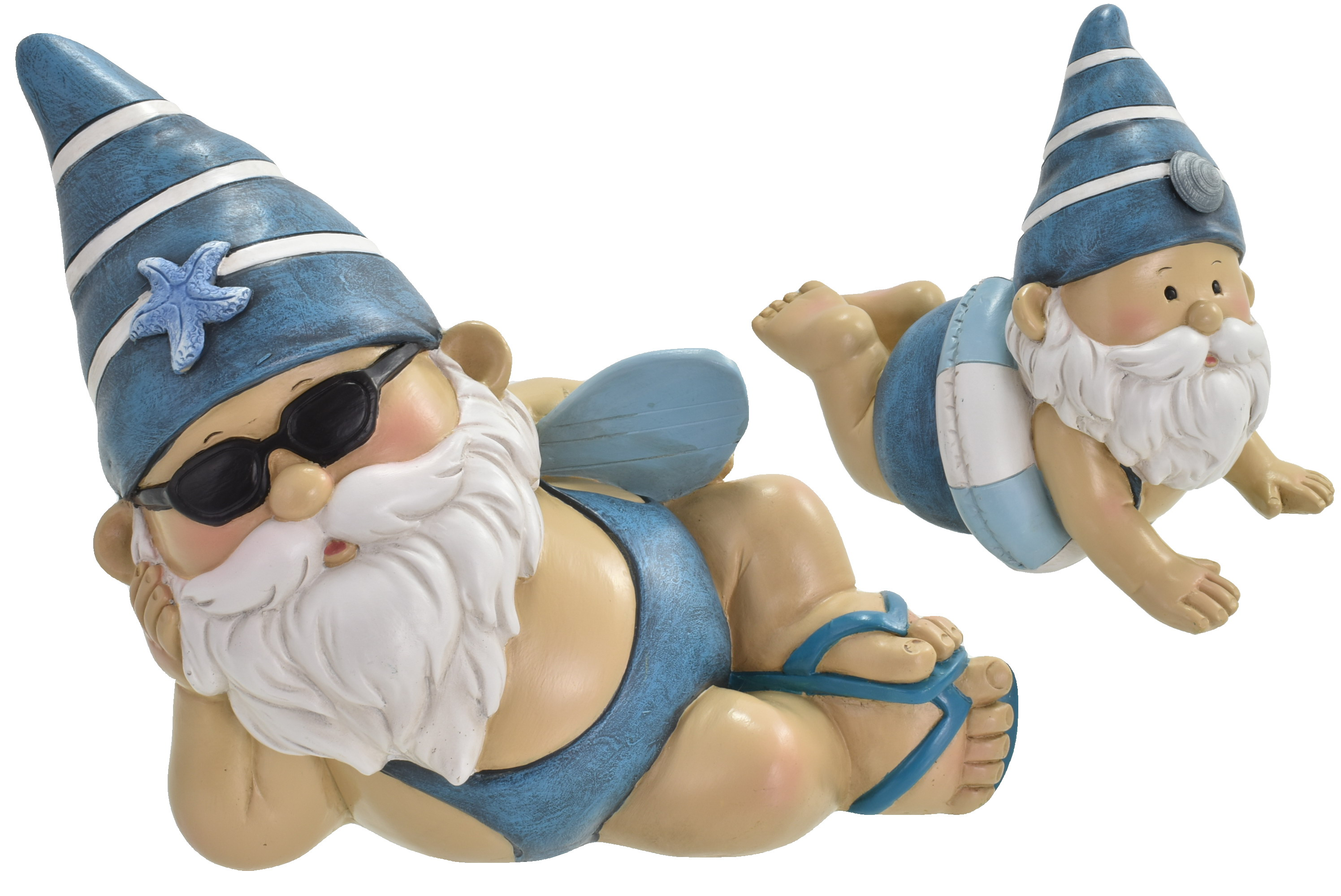 18cm Gnautical Laying Gnome Stripy Hat 2 Asst Designs