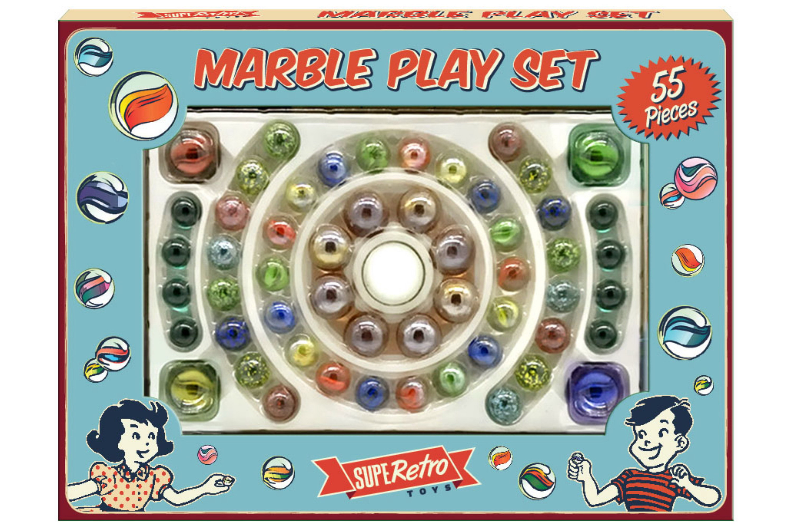 "55pc Marble Playset In Colour Window Box ""Retro"""