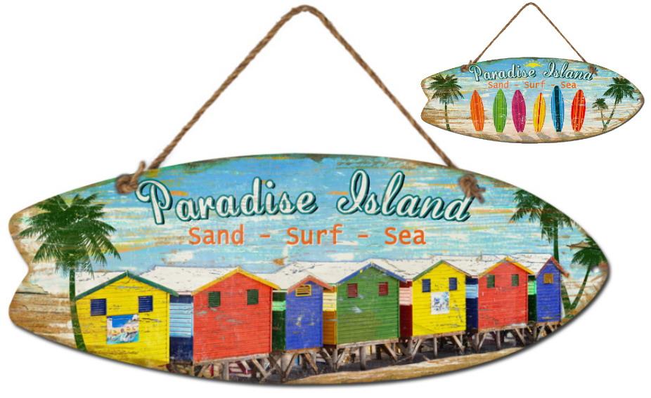 30x78cm Wooden Surfboard Hanging Sign 2 Asst Designs
