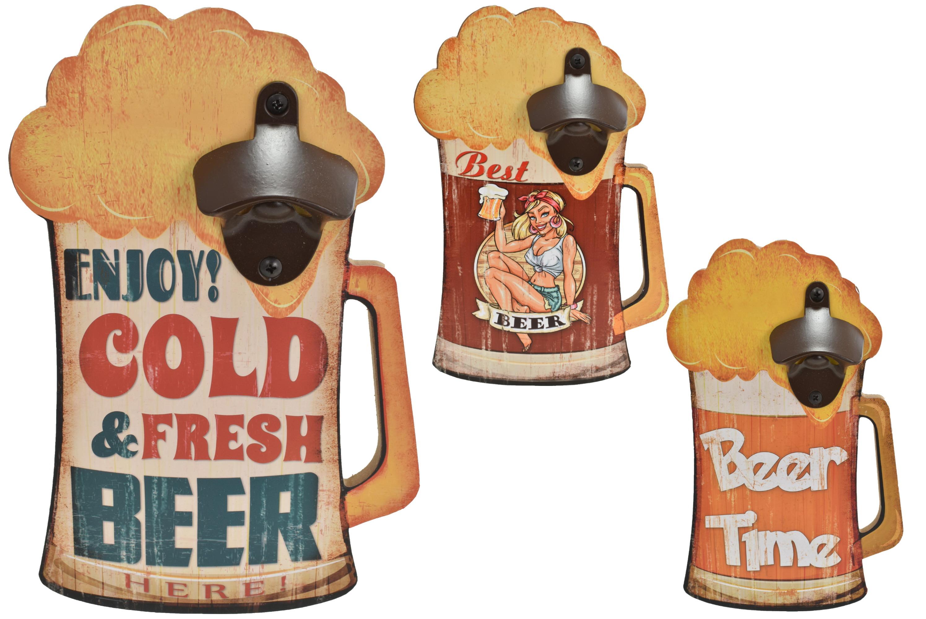 17x26cm Wooden Beer Shaped Sign Bottle Opener 3 Asst