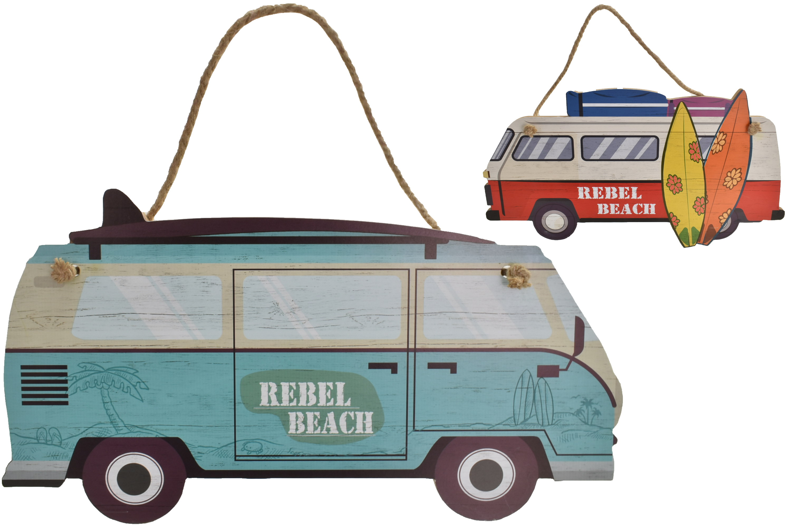 51x26cm Wooden Surf Bus Hanging Sign 2 Assorted Designs