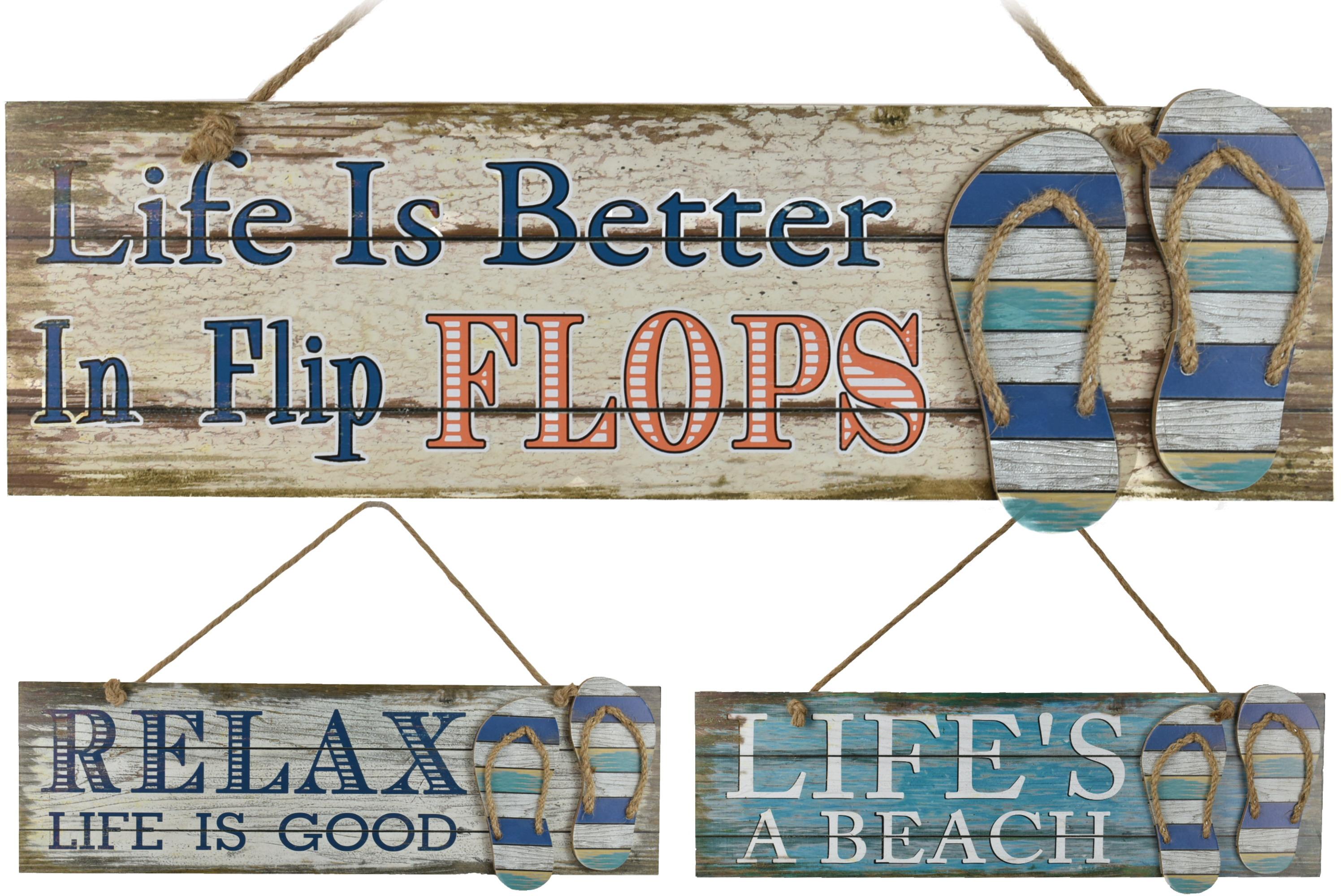 18x59cm Wooden Hanging Plaque W/ Flip Flops 3 Assorted
