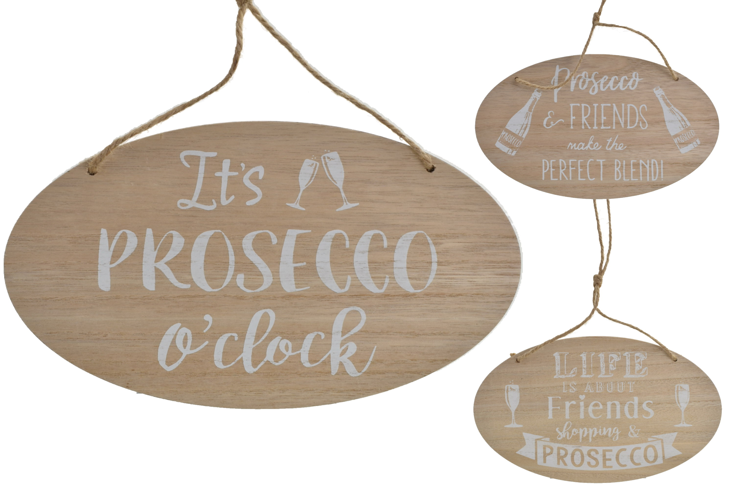 25x15cm Wooden Hanging Oval Sign Prosecco Design 3 Asst
