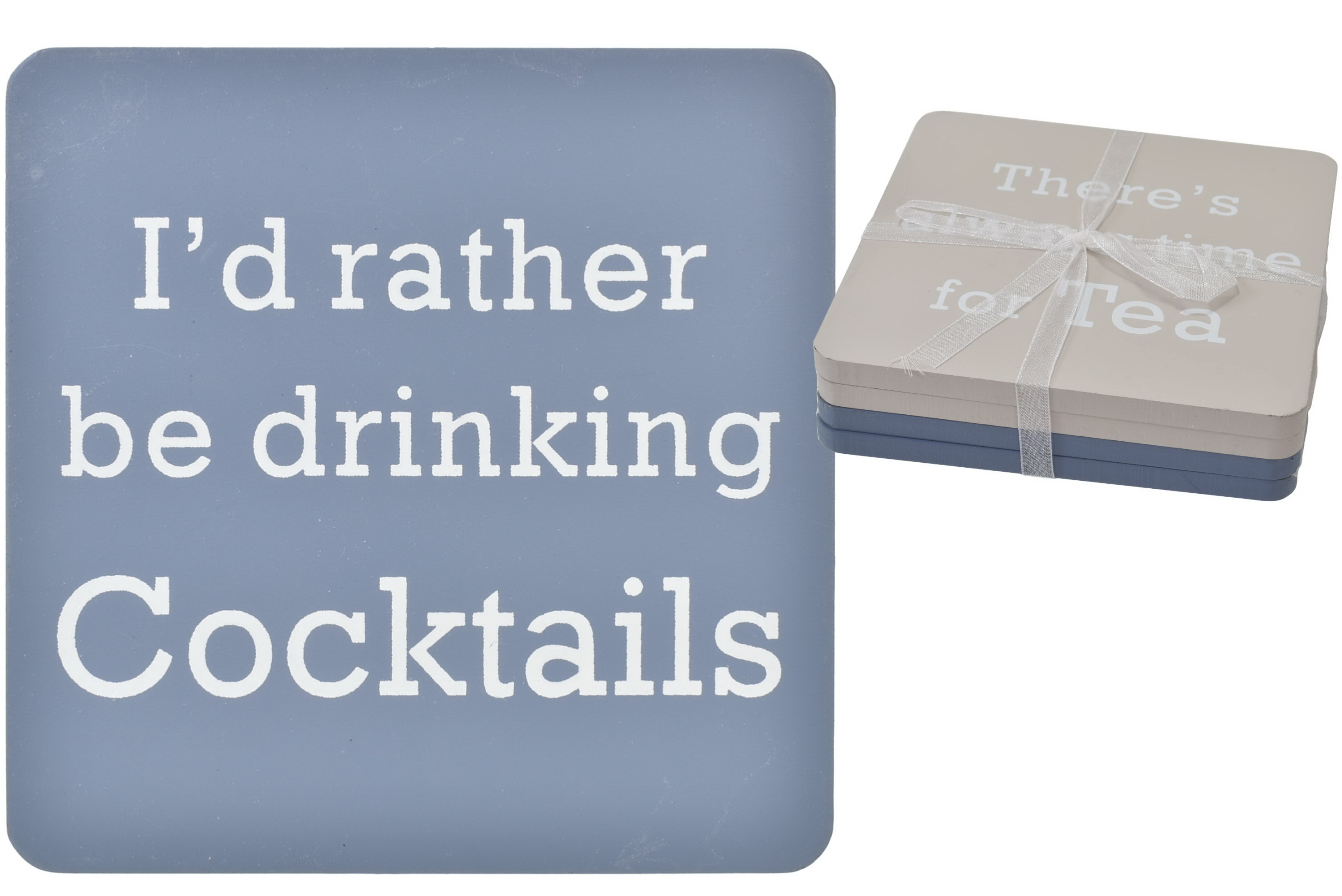 10x10 Double Sided Set Of 4 Wood Coasters 2 Asst Drink