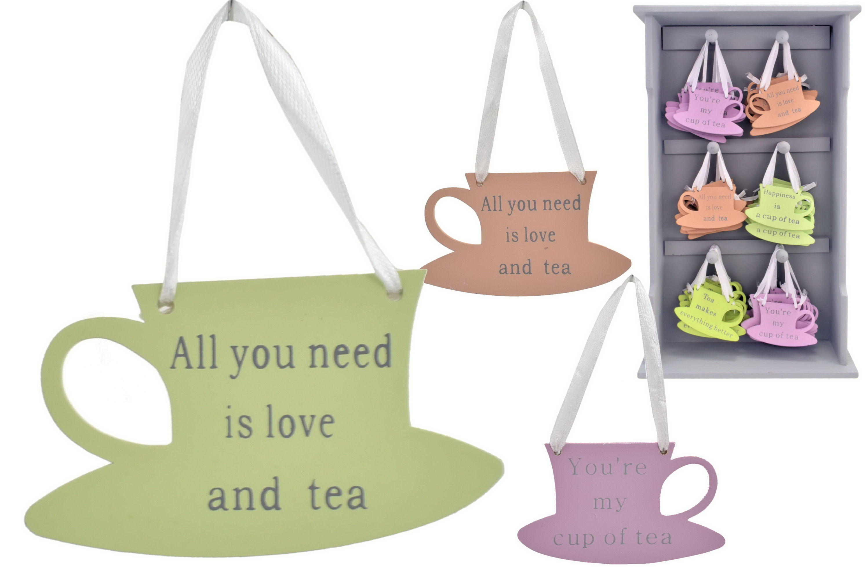 Tea Cup Wooden Hanging Signs On Display Stand 4 Asst