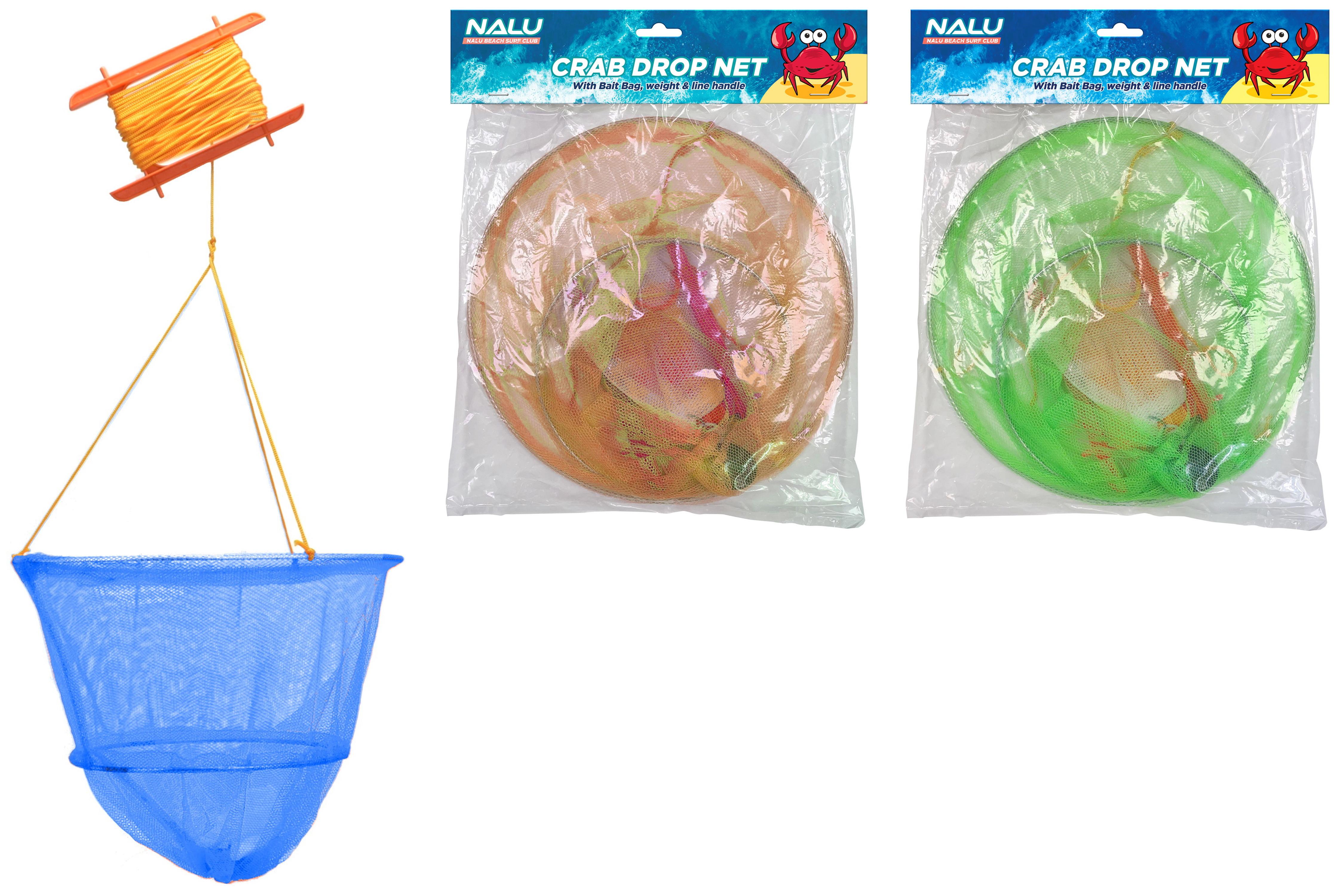 25cm/30cm 2 Ring Crab Drop Net With Bait Bag Neon Cols