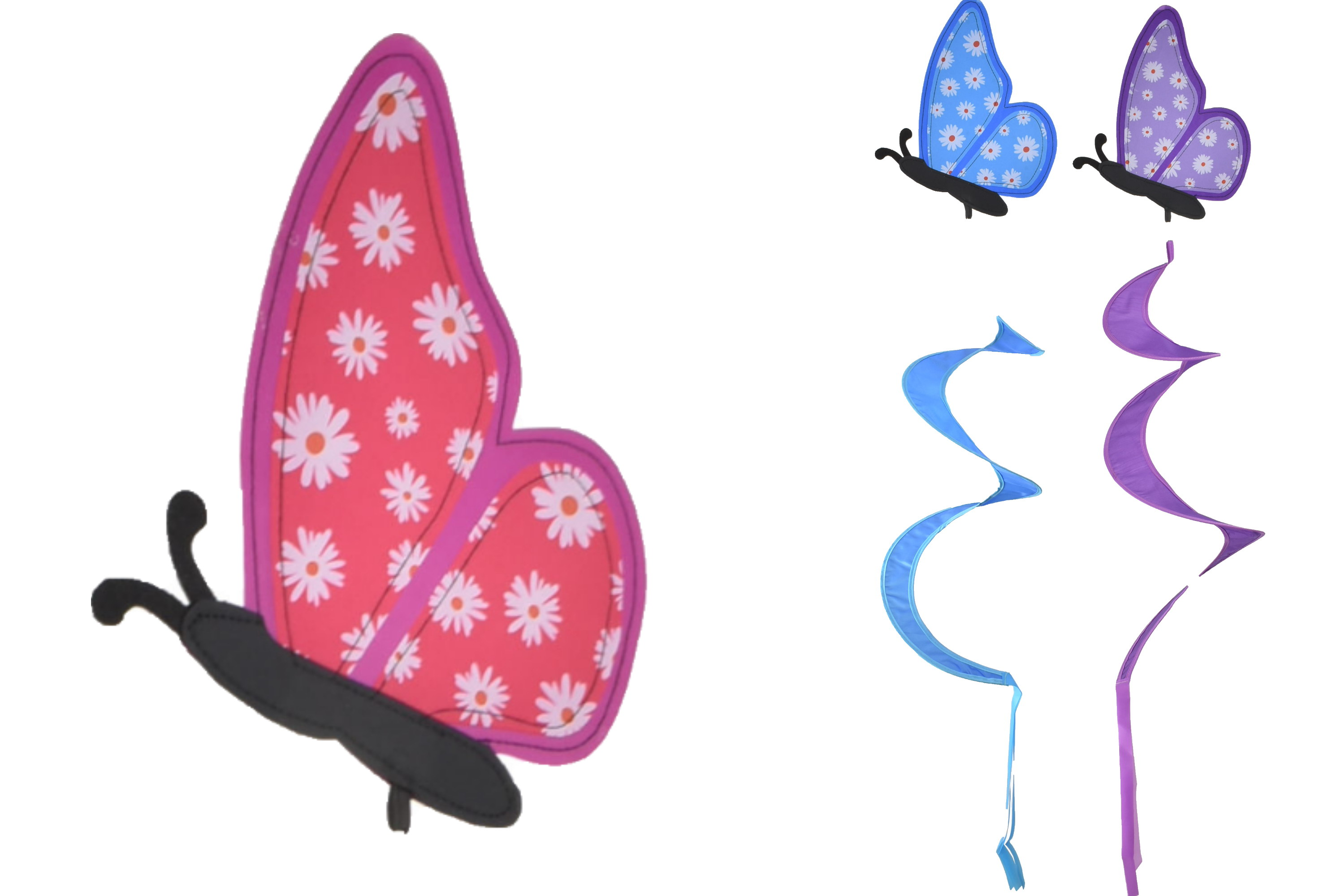 Butterfly Windmill Spinner 3 Assorted Colours
