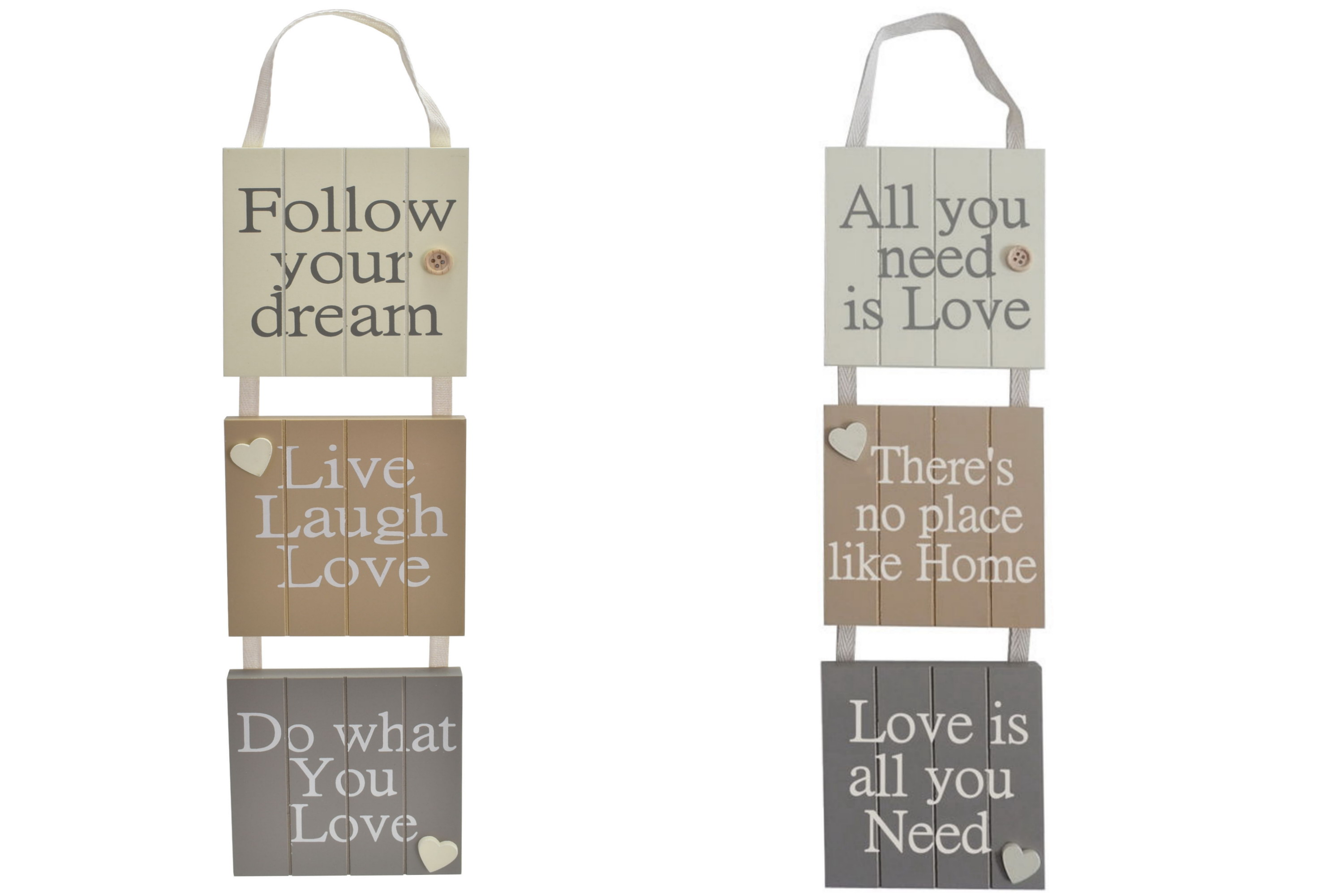 50x11cm 3 Piece Mdf Hanging Sign With Rope 2 Assorted