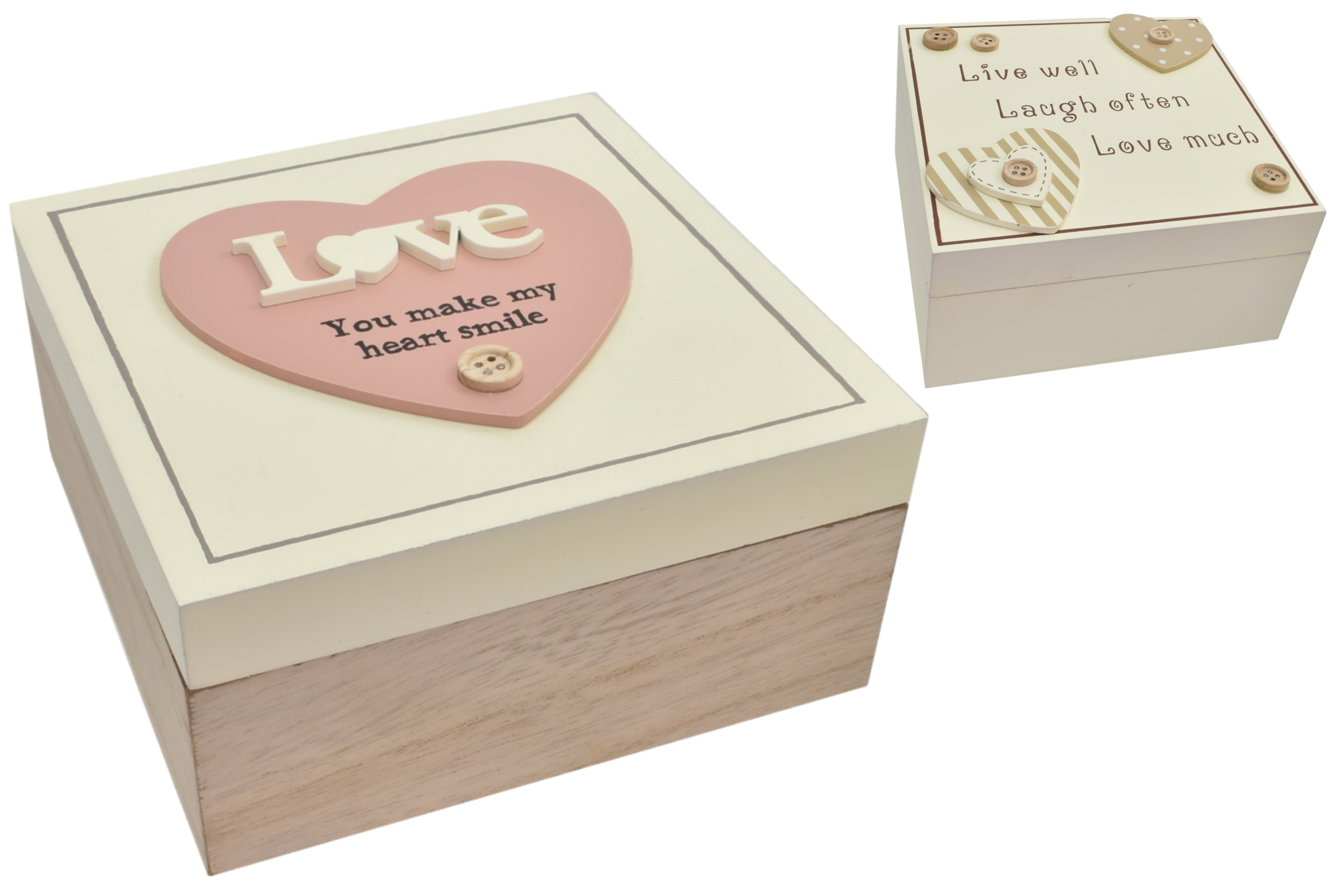 15x15x7.5cm Wooden Storage Box With Hearts 2 Asst