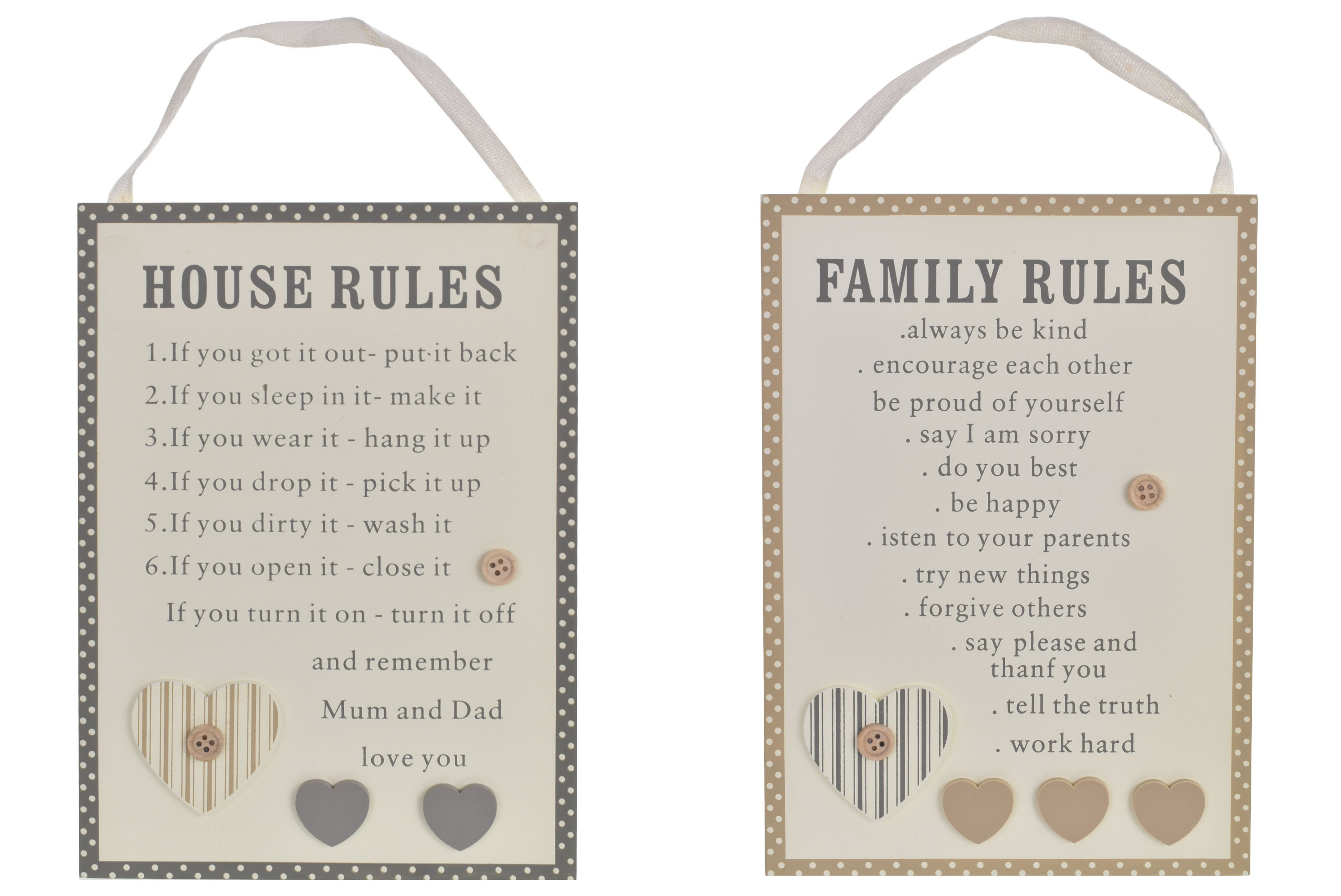 24x17cm Wooden Home Rules Hanging Sign 2 Assorted