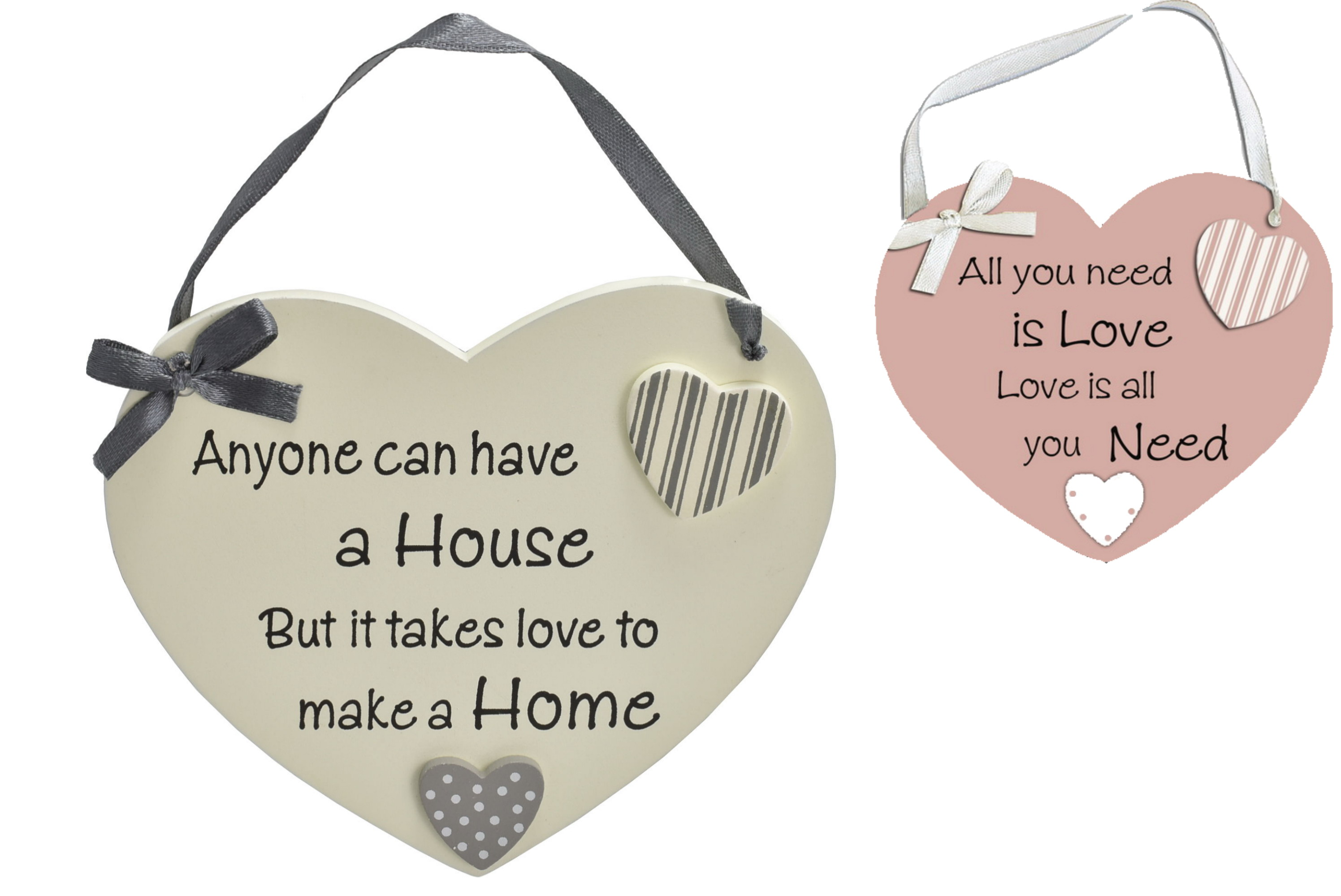 14x12cm Wooden Heart Hanging Sign 2 Assorted