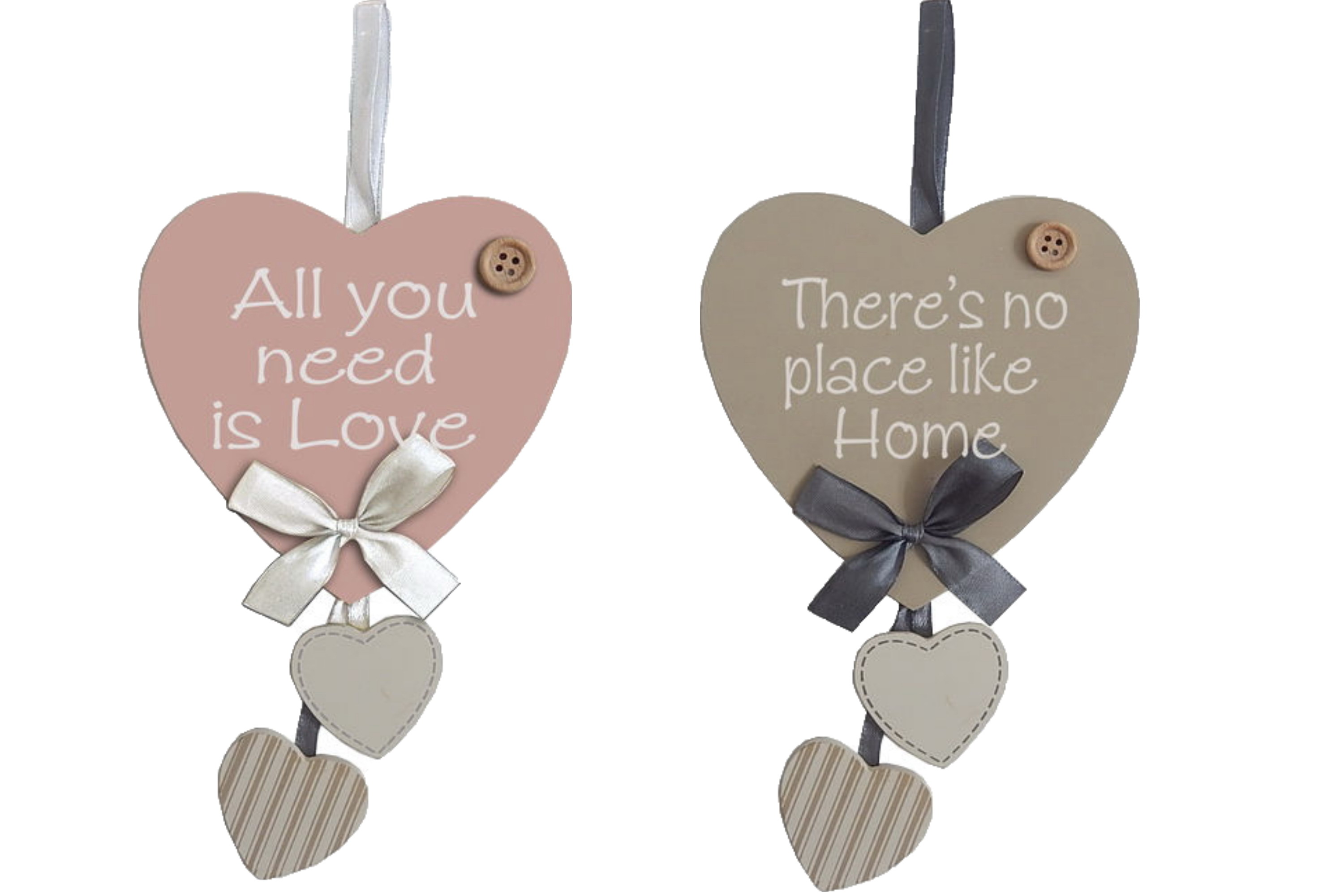 27x13xm 3pc Wooden Hanging Hearts Sign 2 Assorted