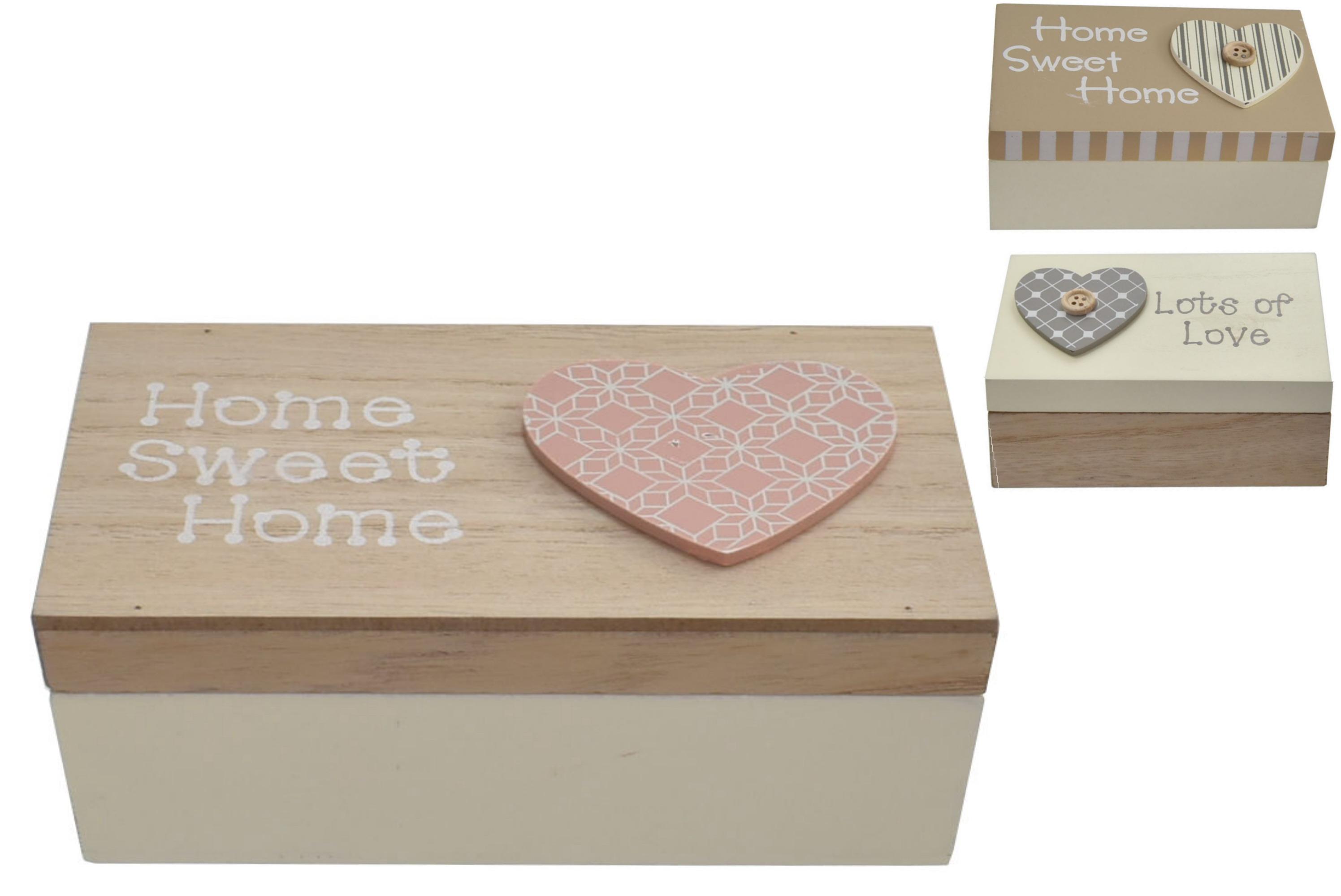 12x6x7.5cm Wooden Storage Box 3 Assorted Designs