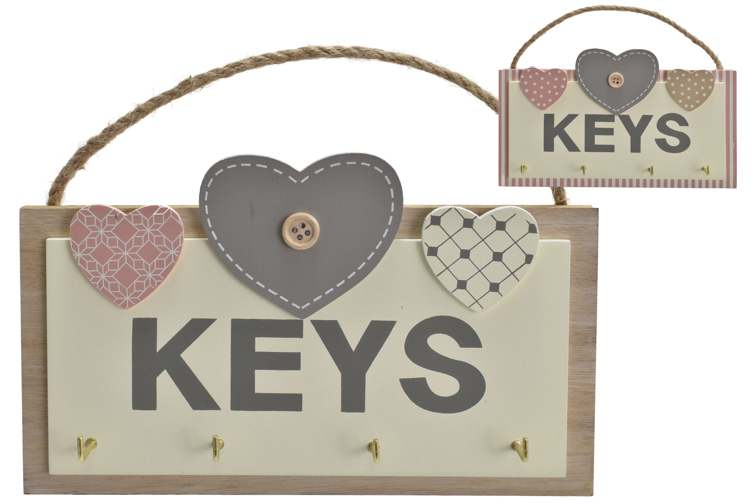 20x18cm Wooden Hearts Key Rack Pink/Grey 2 Assorted