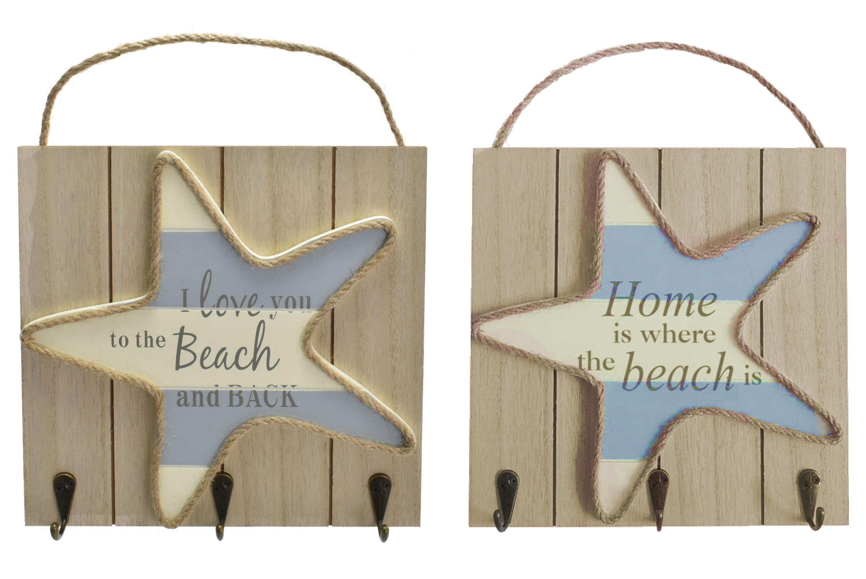 23x23cm Starfish Hanging Sign 2 Assorted Designs